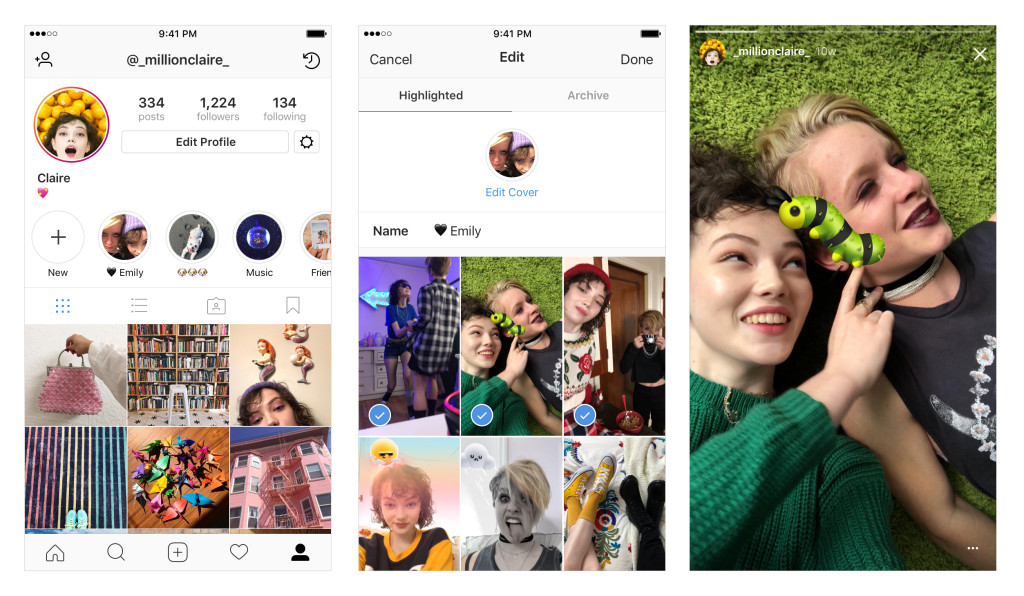 Instagram Stories Highlights examples
