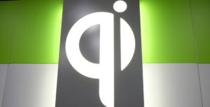 QI logo on wall at CES 2018