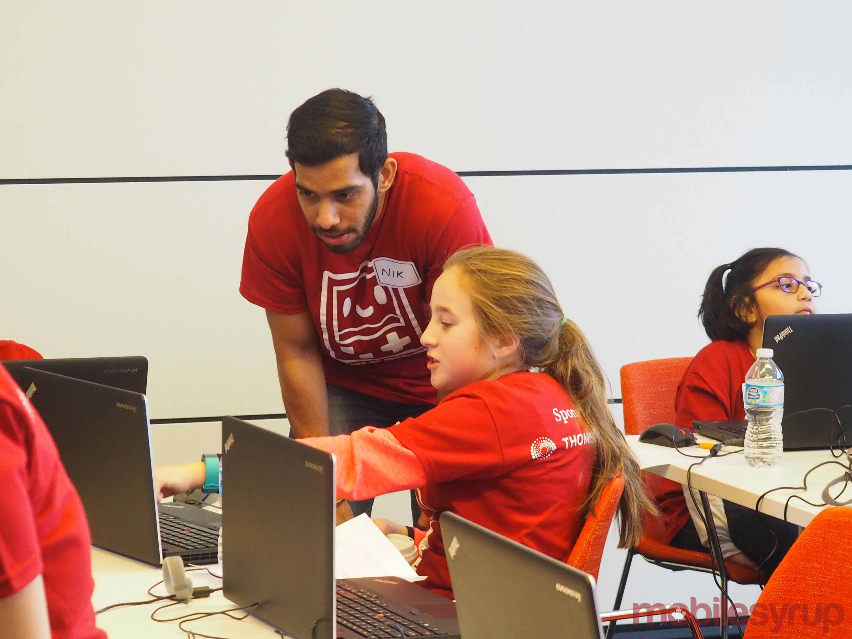 Girls Make Games teacher and student