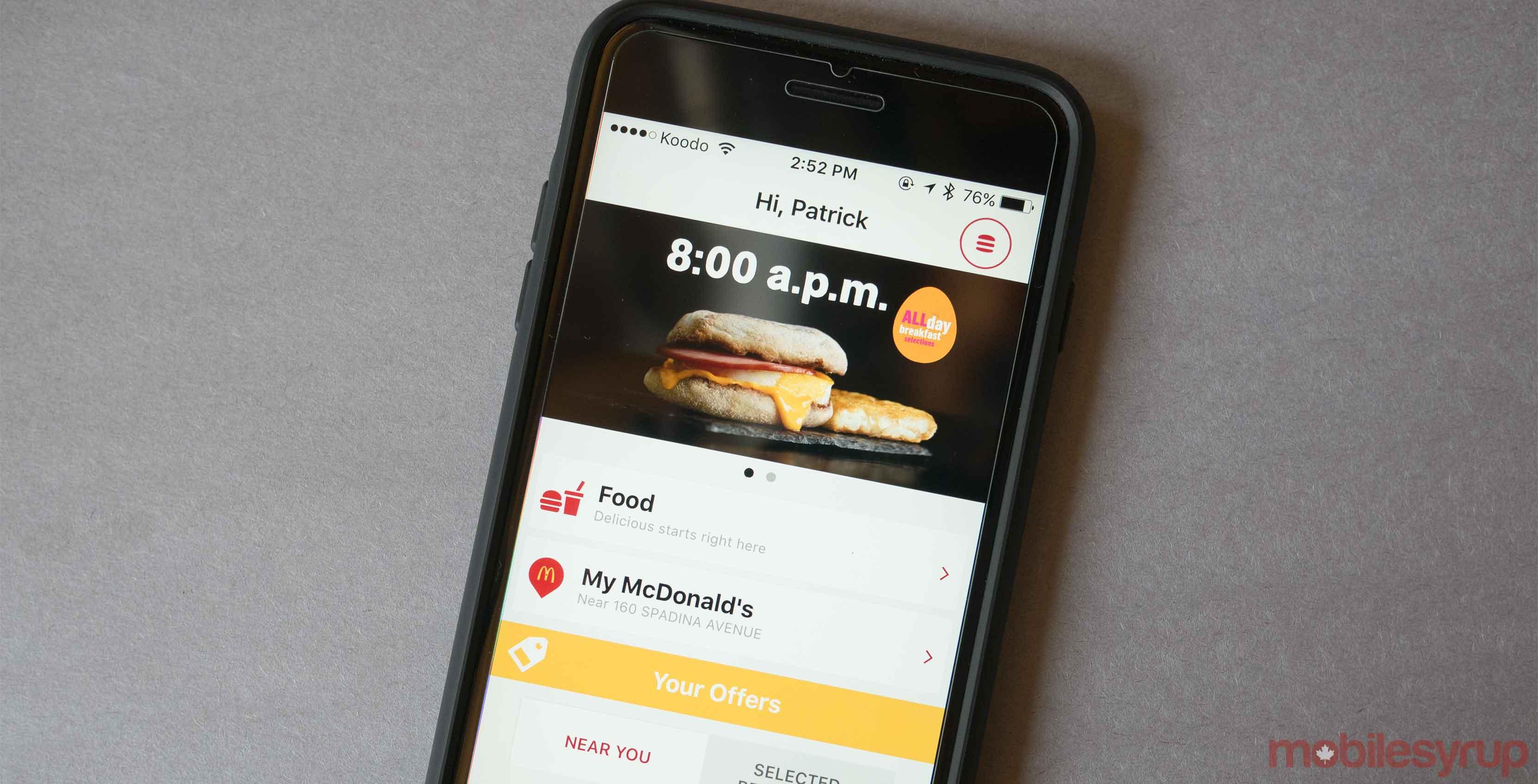 McDonalds phone app