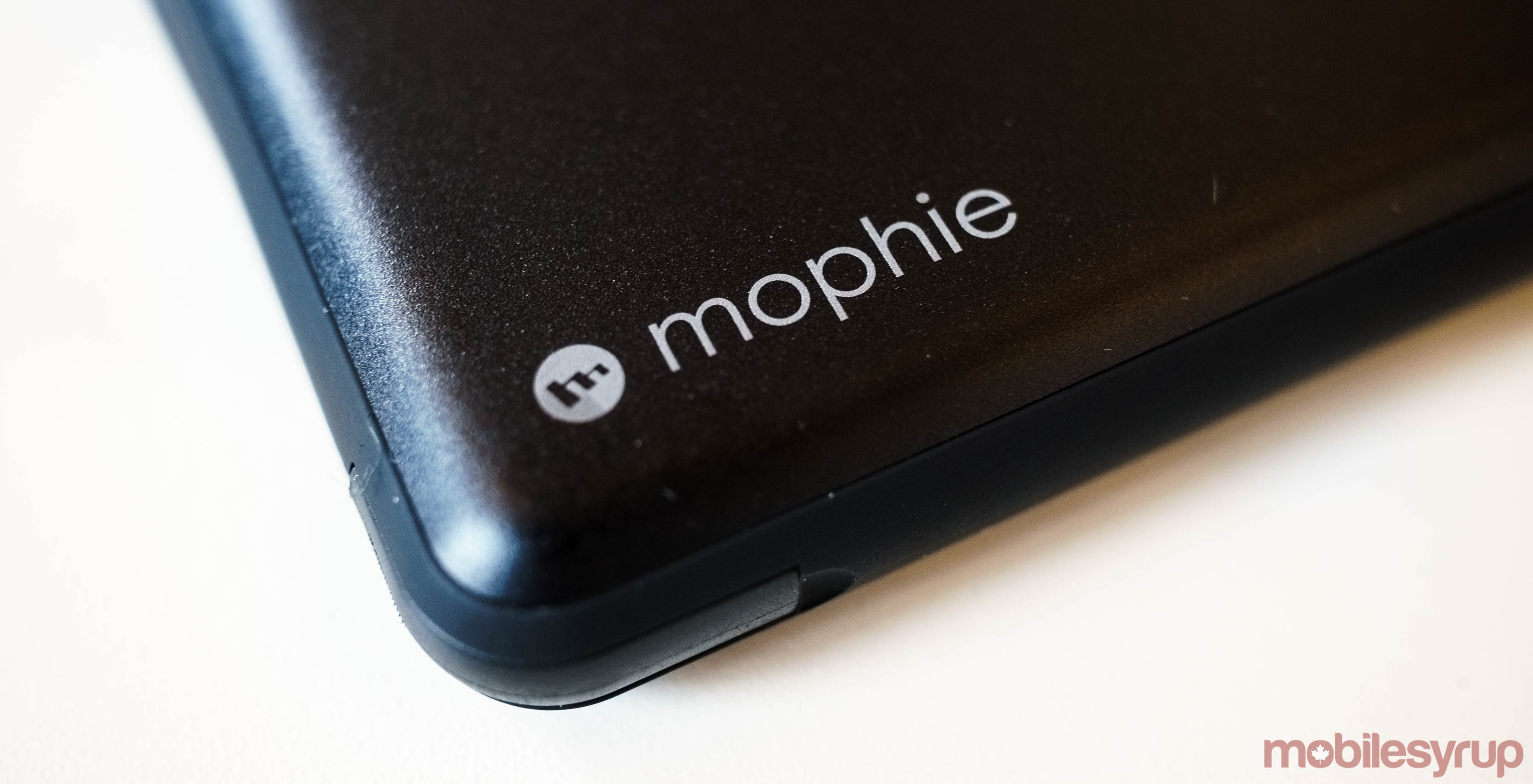 Close-up of Mophie Powerstation Plus power bank
