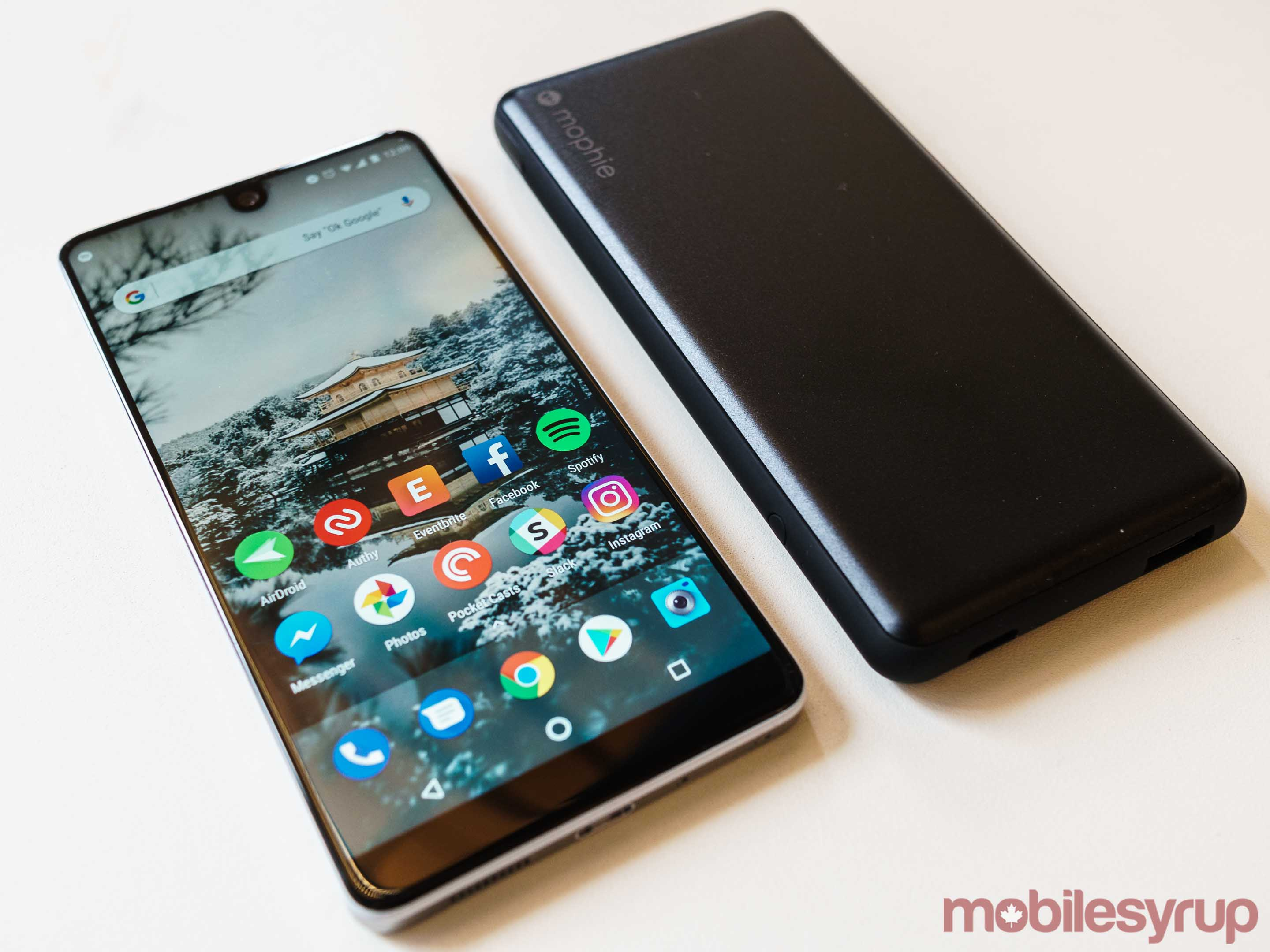 Mophie Powerstation Plus next to Essential Phone