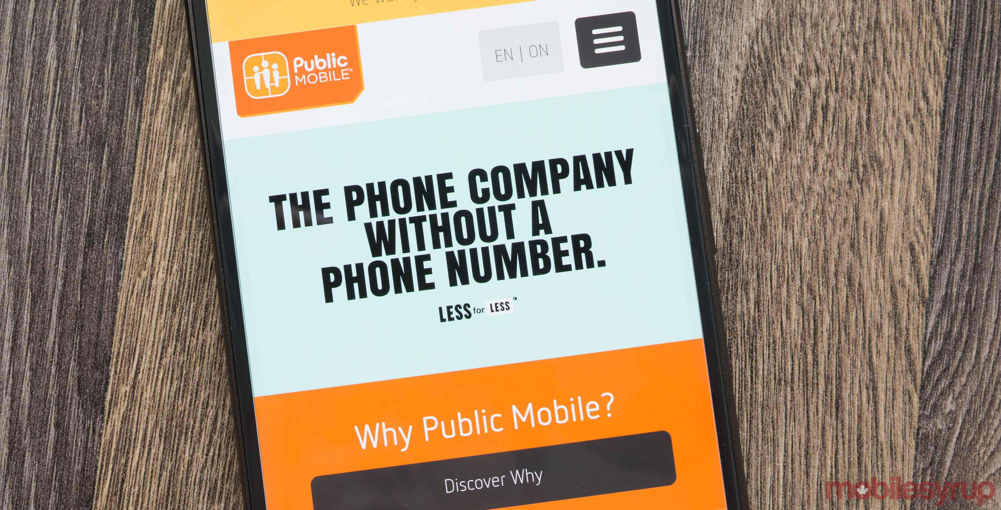 Public Mobile on smartphone