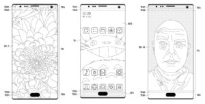 Mock-up images of Samsung's new patented device, displaying a screen with embedded camera, speaker, and sensors.
