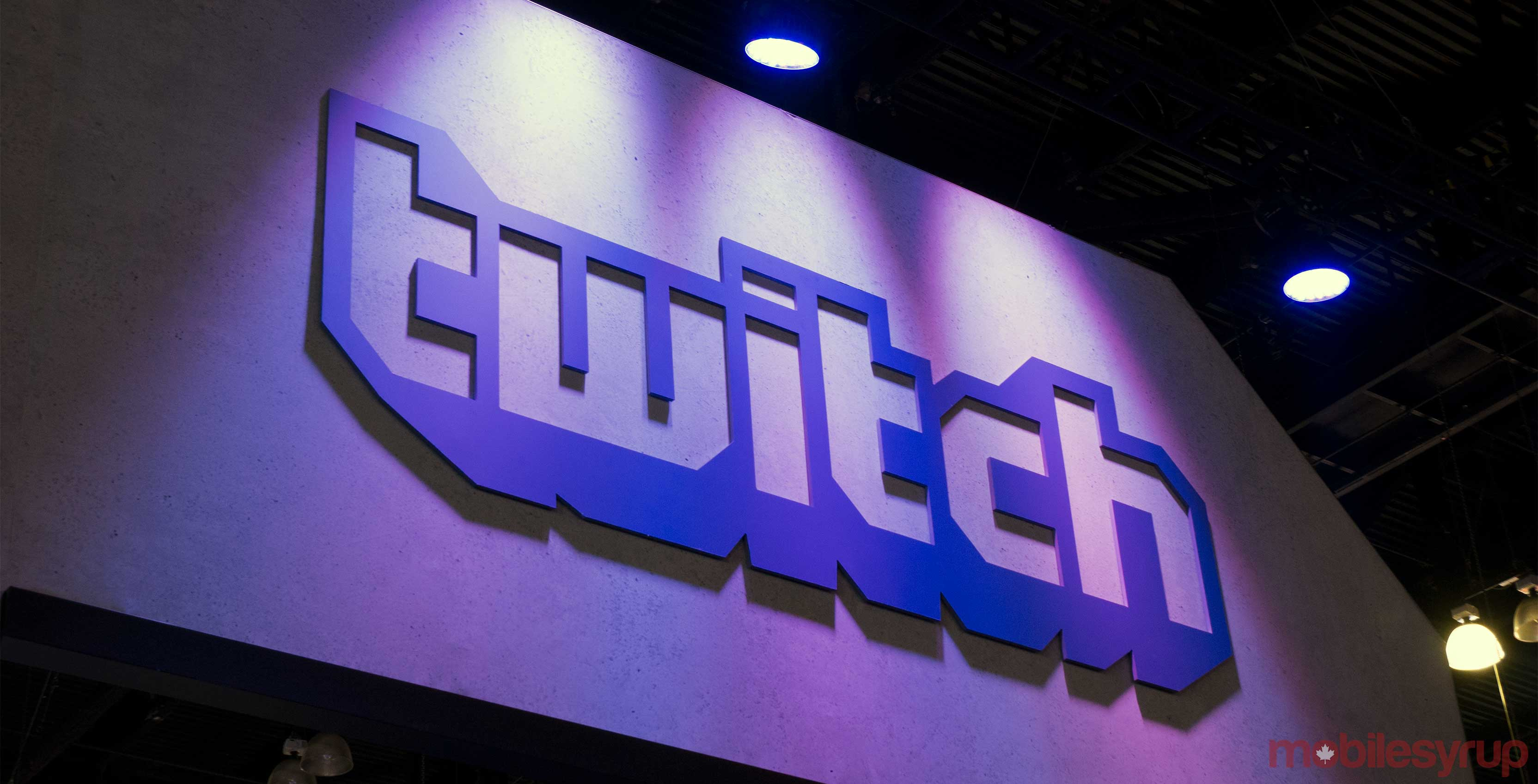 Twitch logo on wall