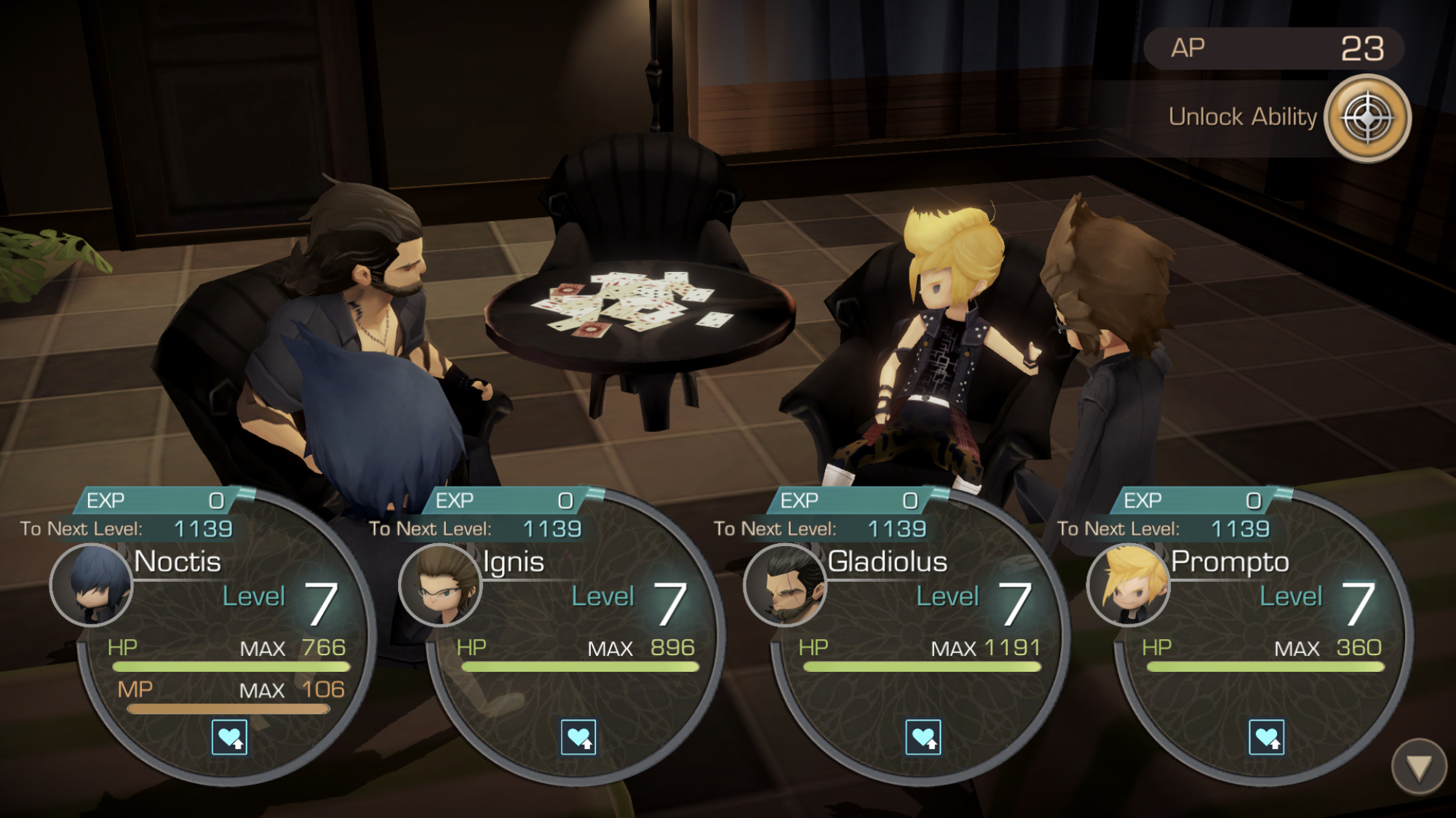 Final Fantasy XV Pocket Edition party level up