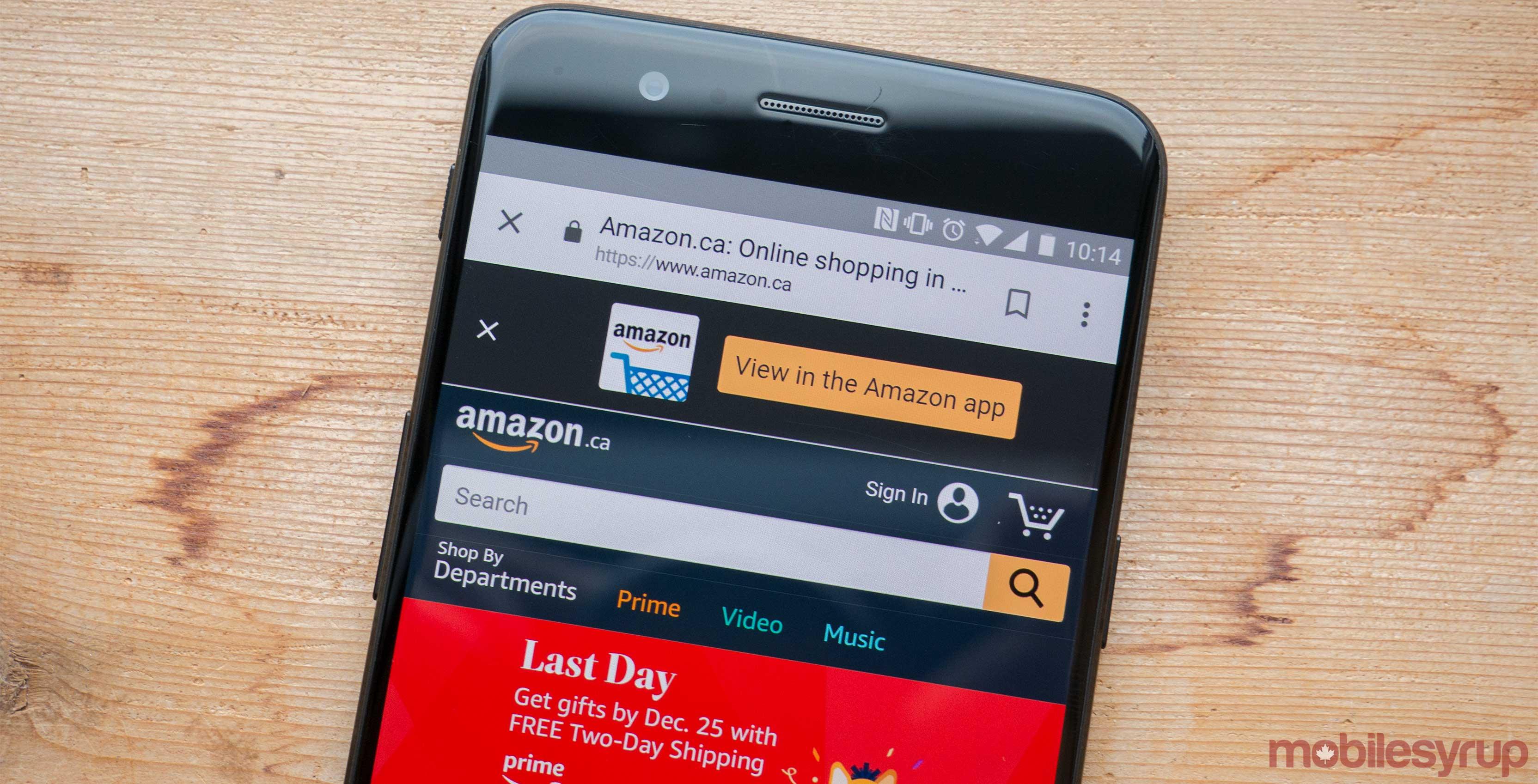 Amazon website on phone