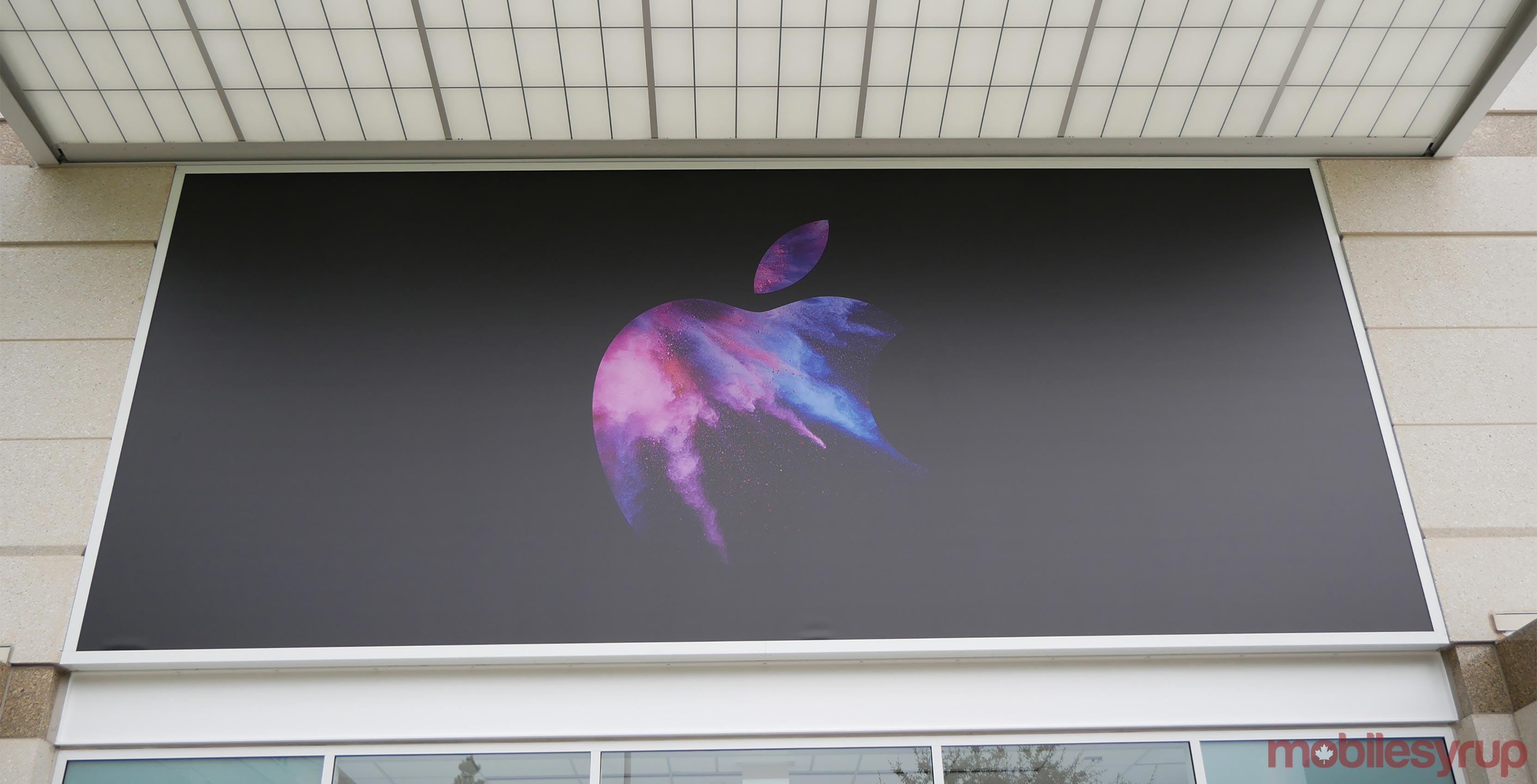 Apple logo on wall