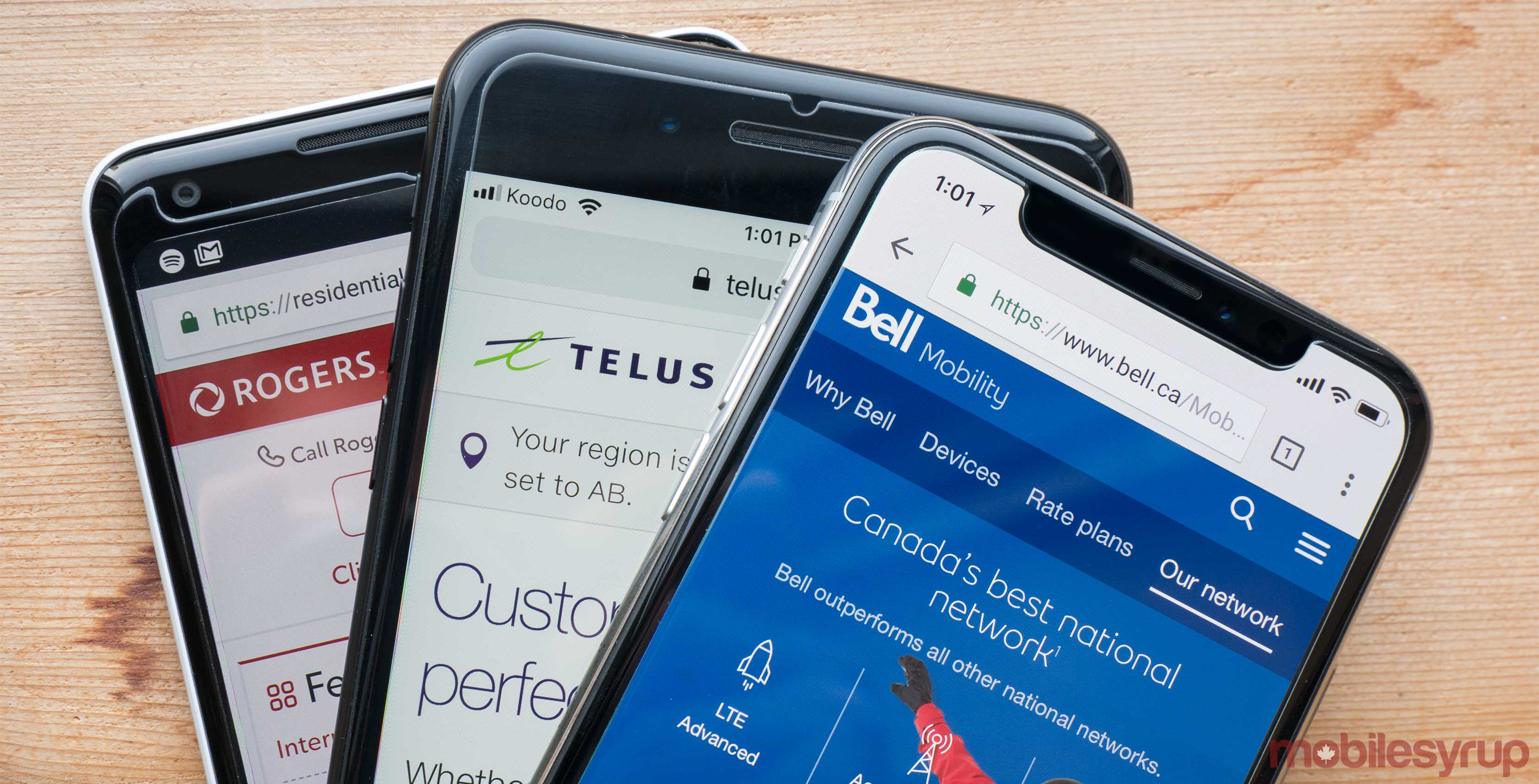 Bell Telus and Rogers