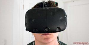 HTC Vive on head