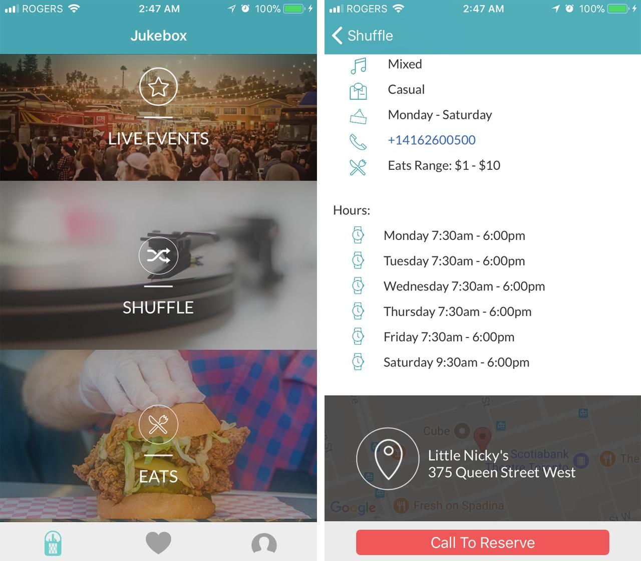 The Jukebox App menu page
