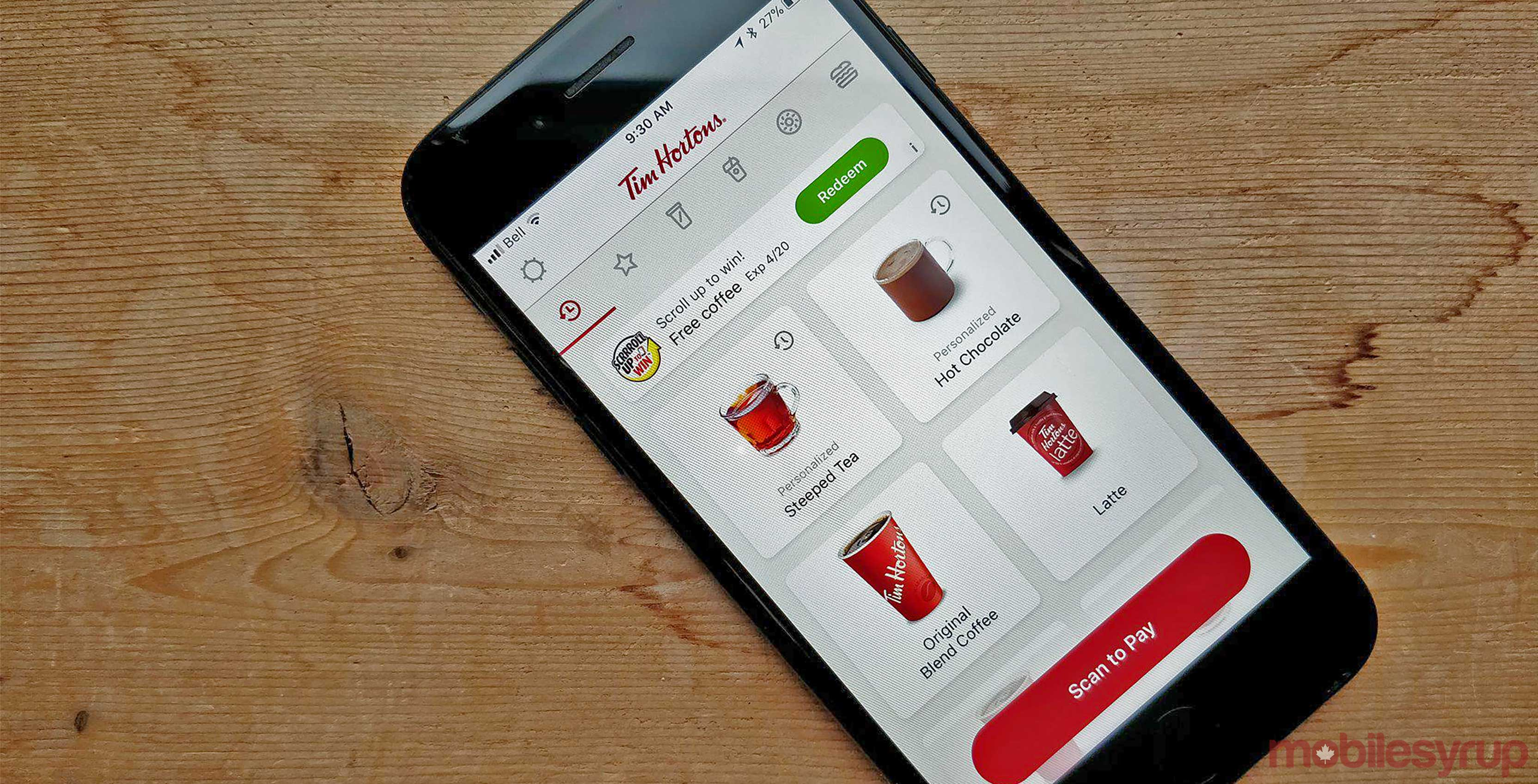 Tim Hortons scroll up to win feature