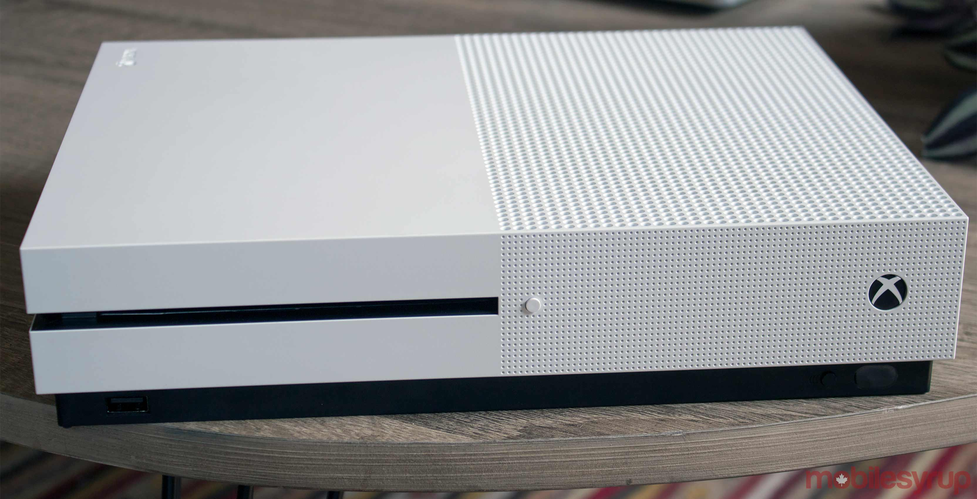 Xbox One S white on table