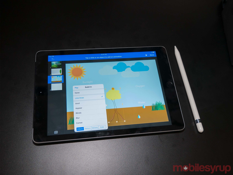 9.7-inch iPad display with Apple Pencil