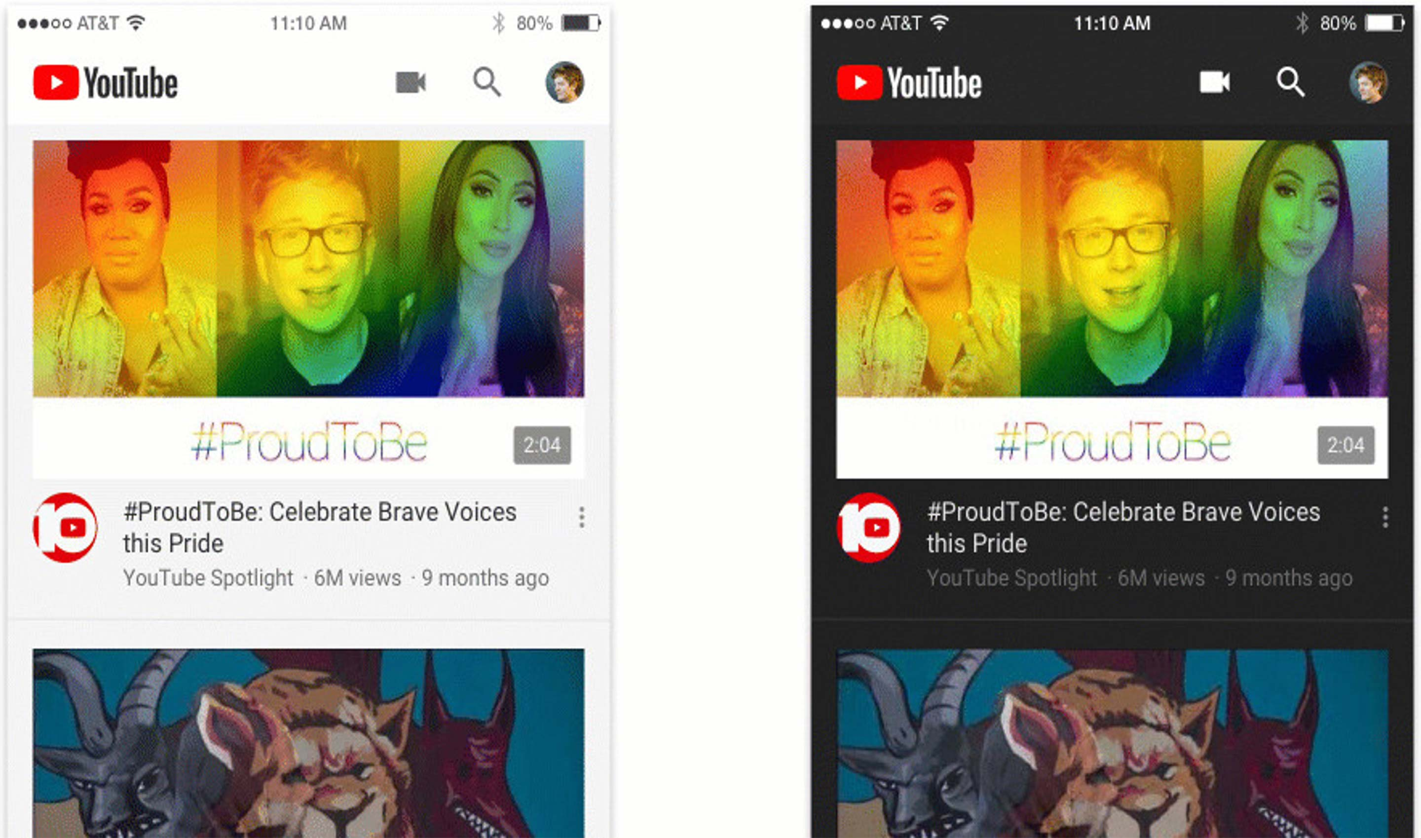 A comparison of both light and dark modes of YouTube's mobile app.