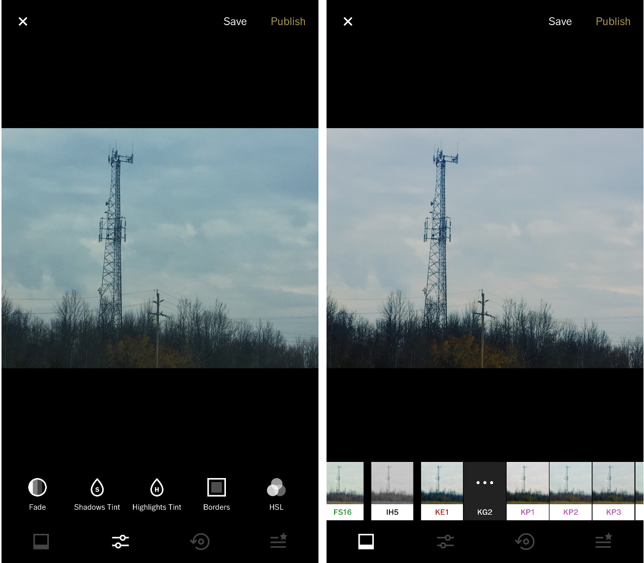 Editing and adding filters to photos in VSCO