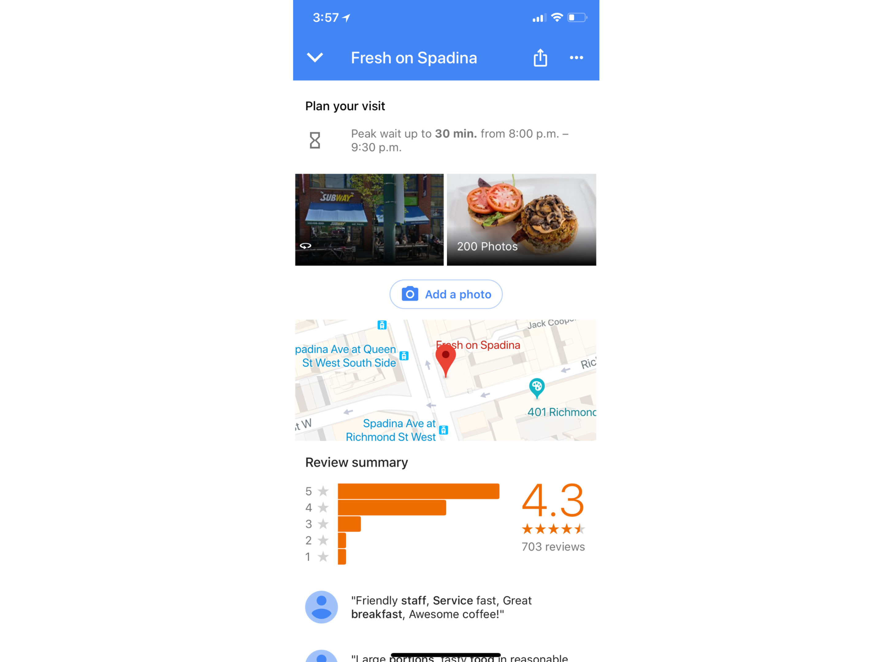 Google Maps app for iOS now has restaurant wait times