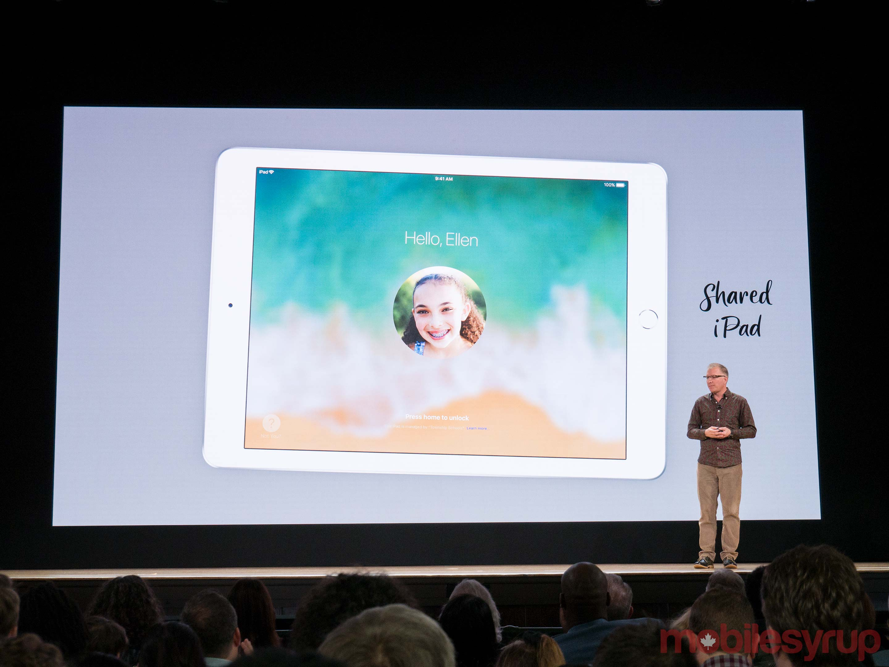 Apple's new iPad at the company's education event