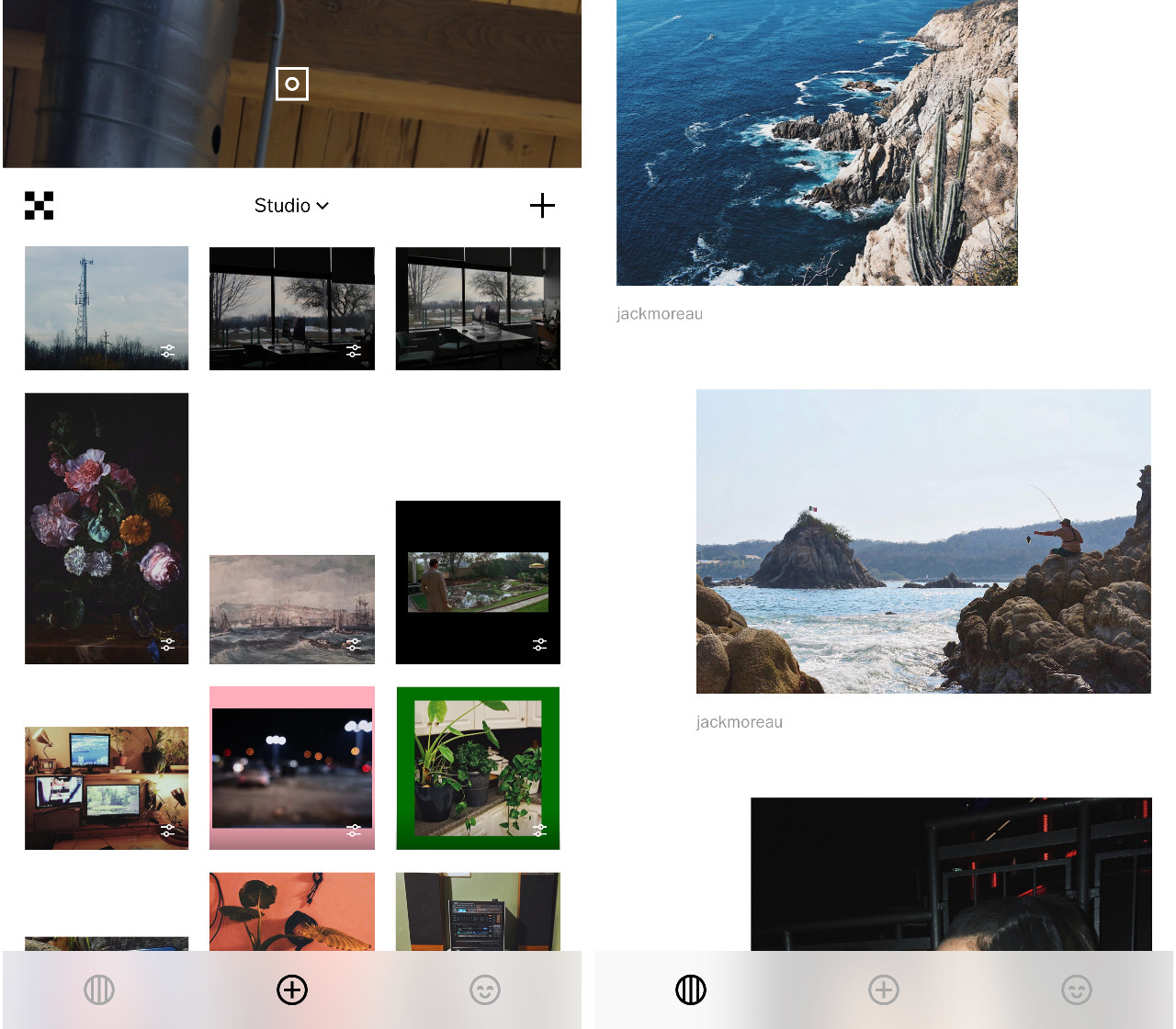 A screen shot of the VSCO studio screen and photo feed.