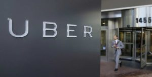 Uber logo on wall