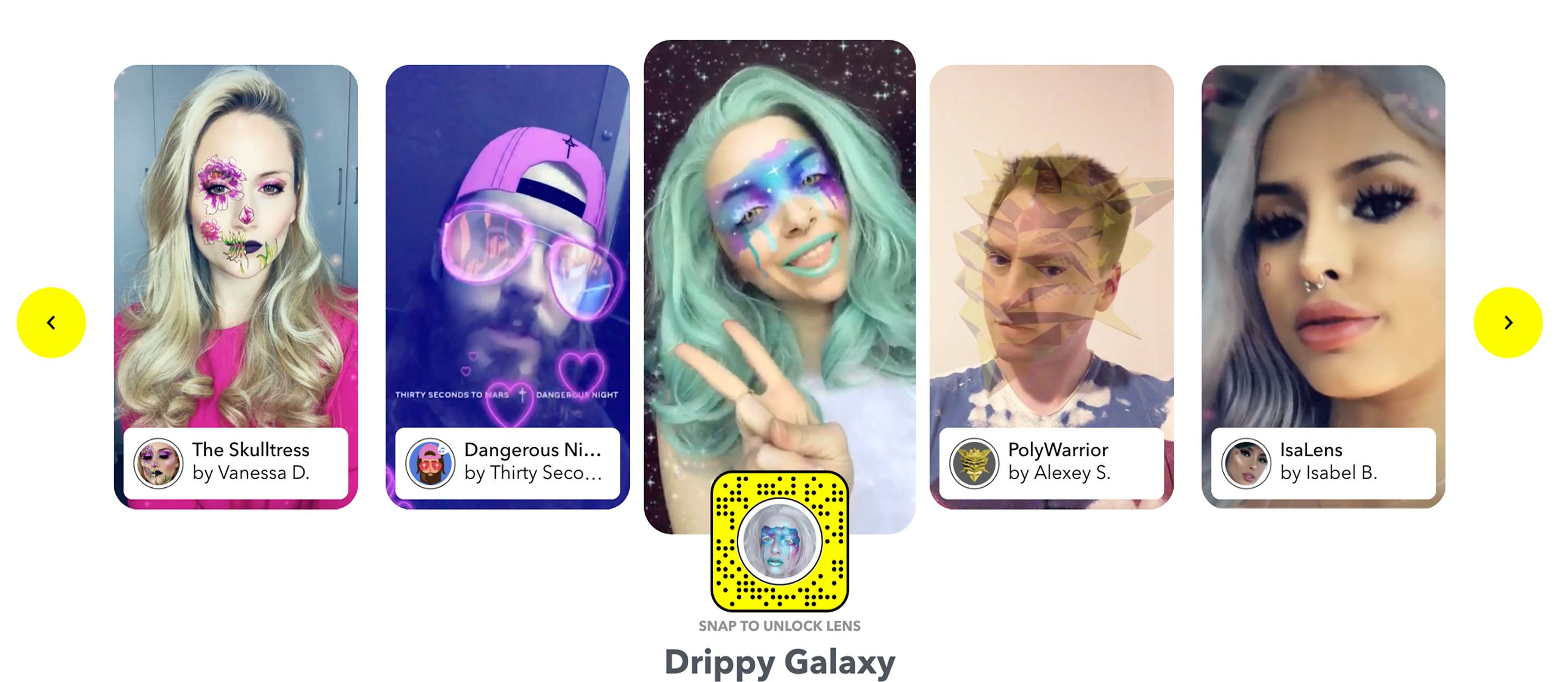 Examples of Snapchat's new Lens features.