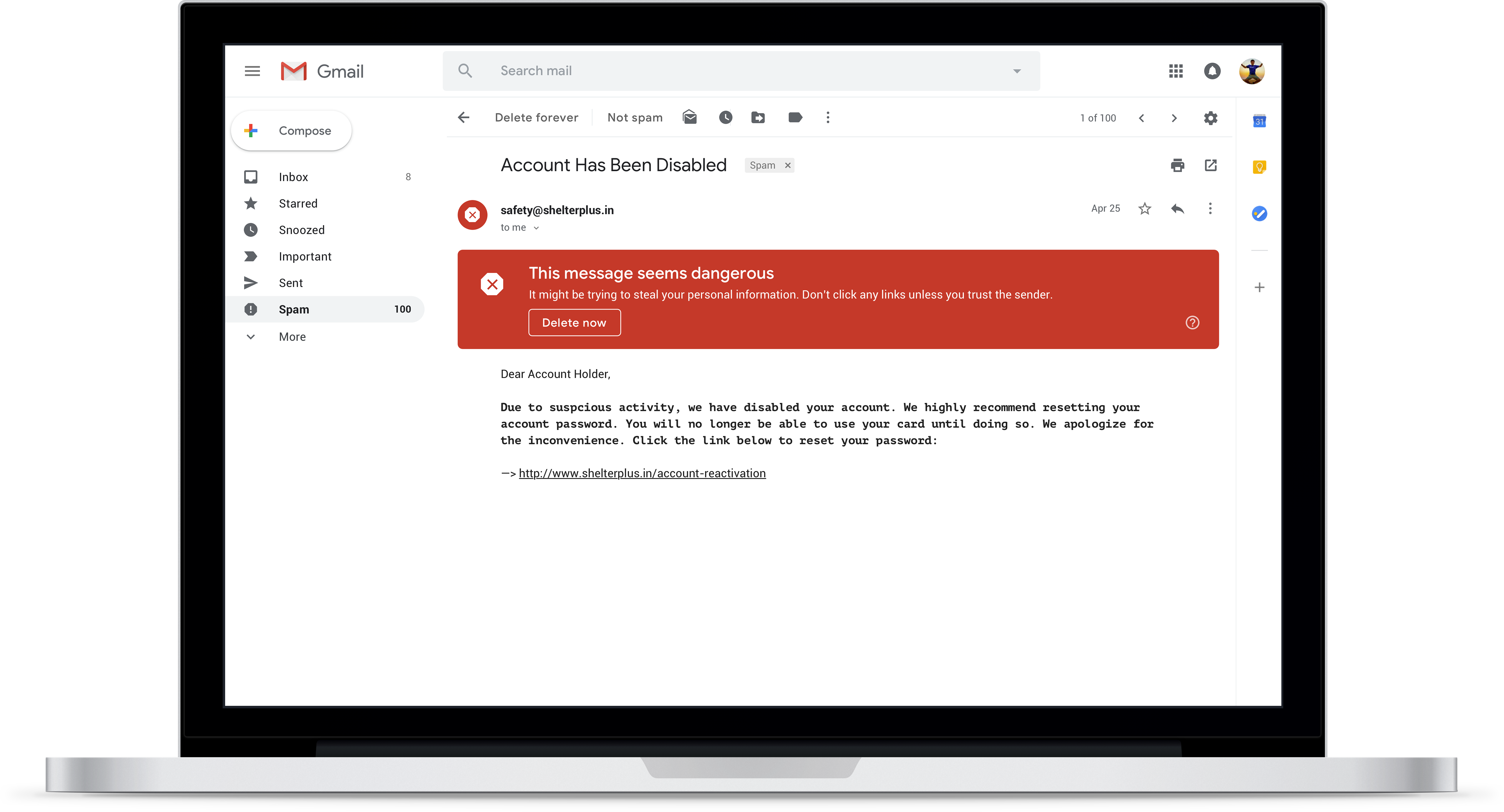 gmail's new, more assertive security warnings