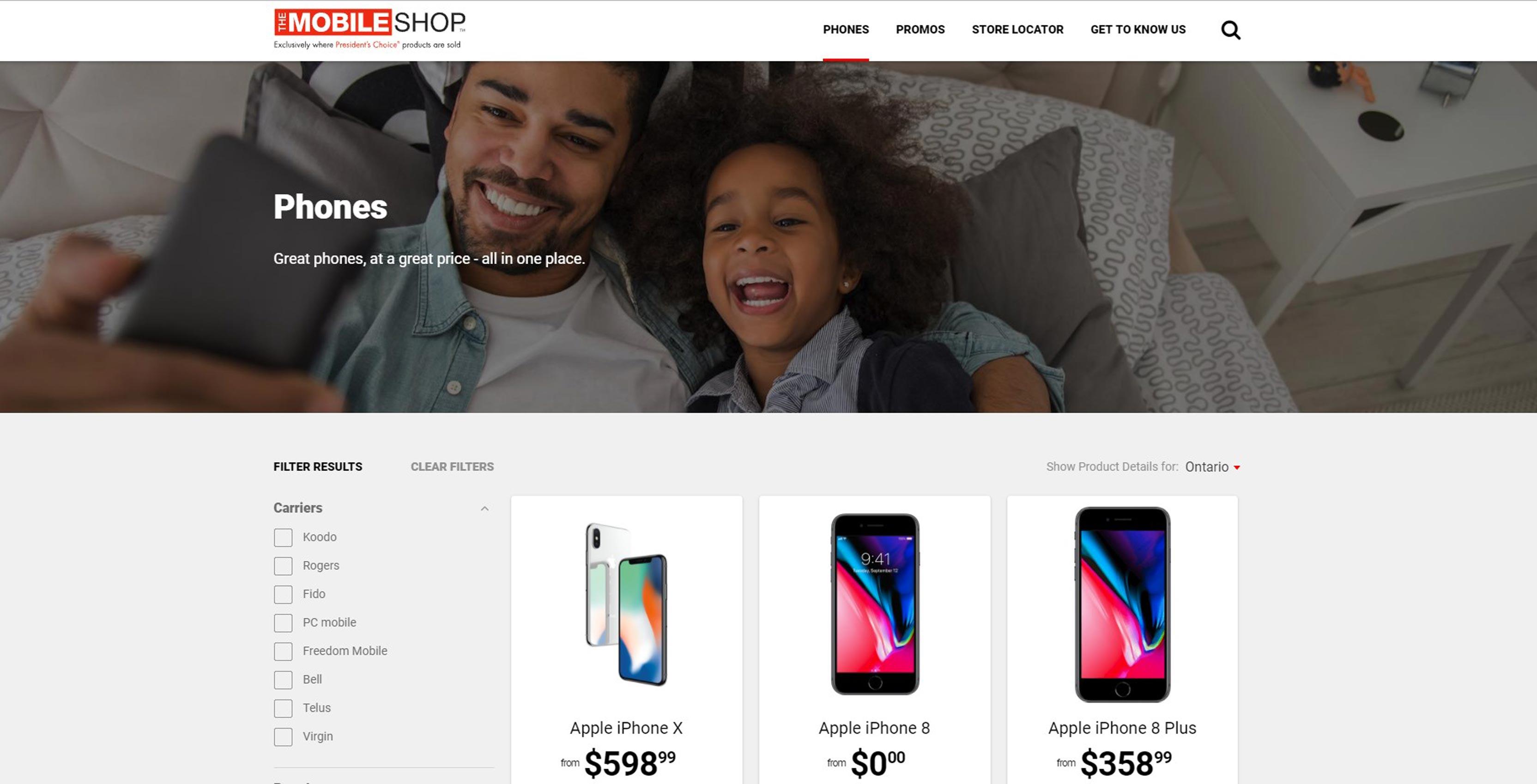 The Mobile Shop website