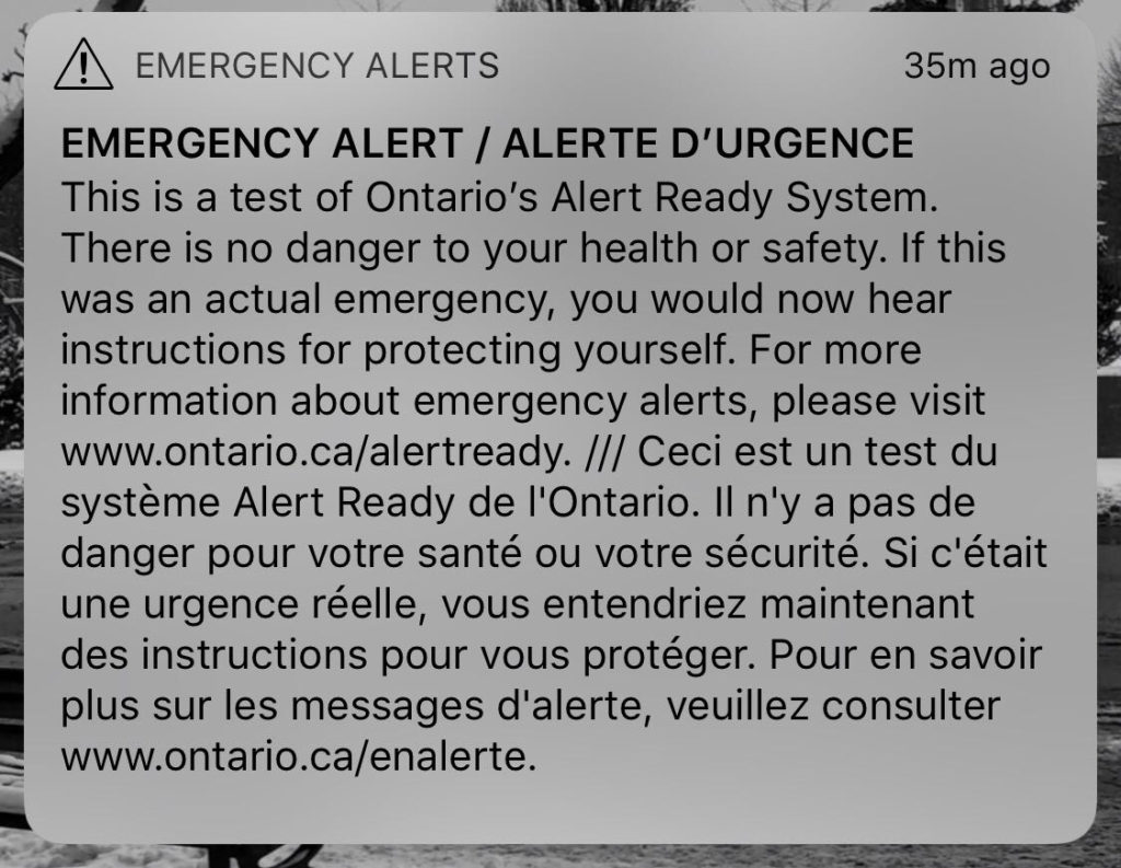 Ontario emergency alert