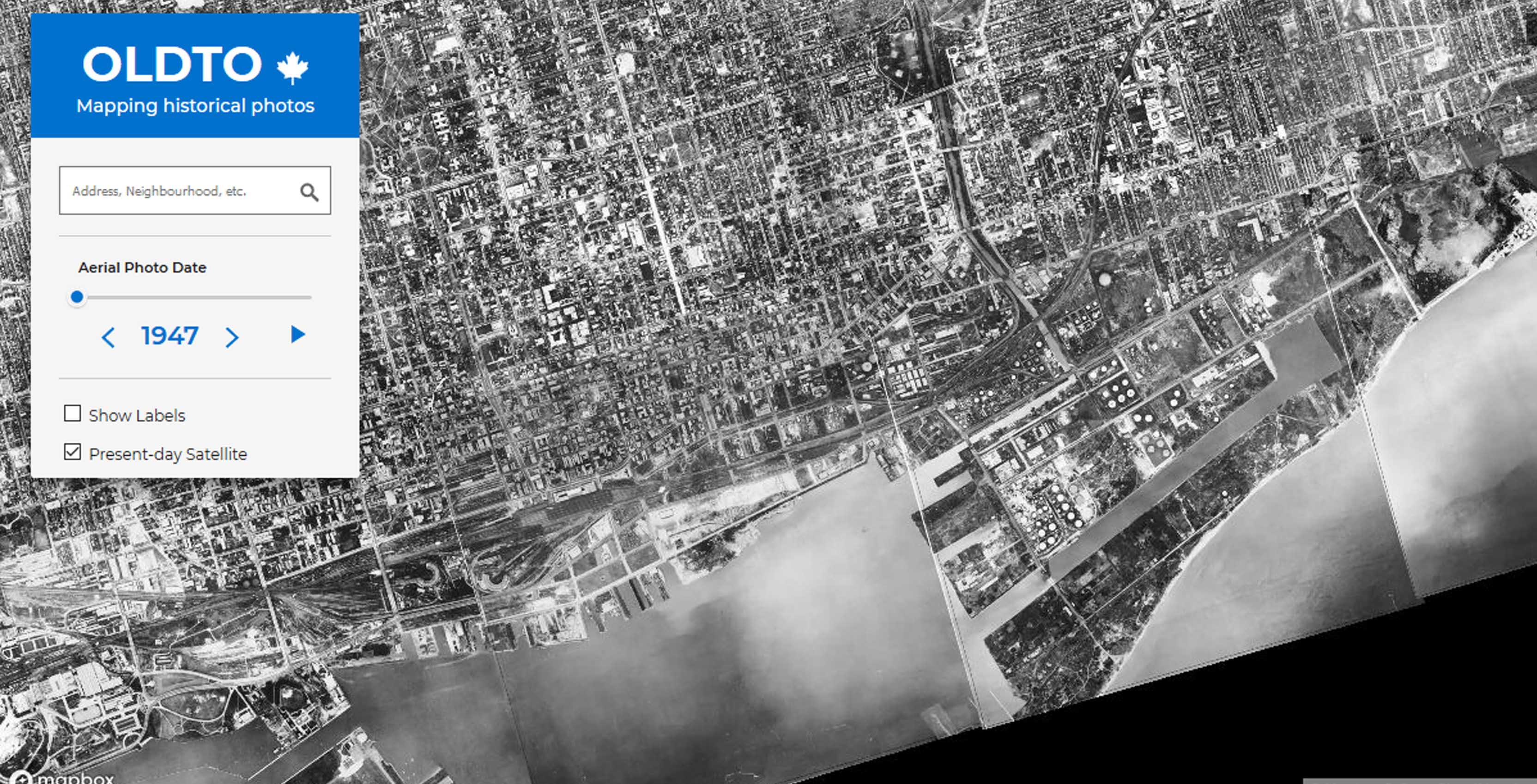 Aerial map of Toronto in 1947 shown by Old Toronto