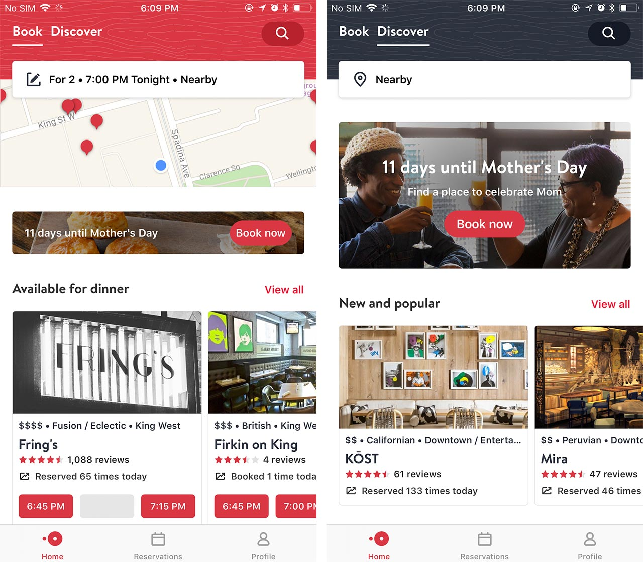 A comparison of the Book and the Discover opentable tabs