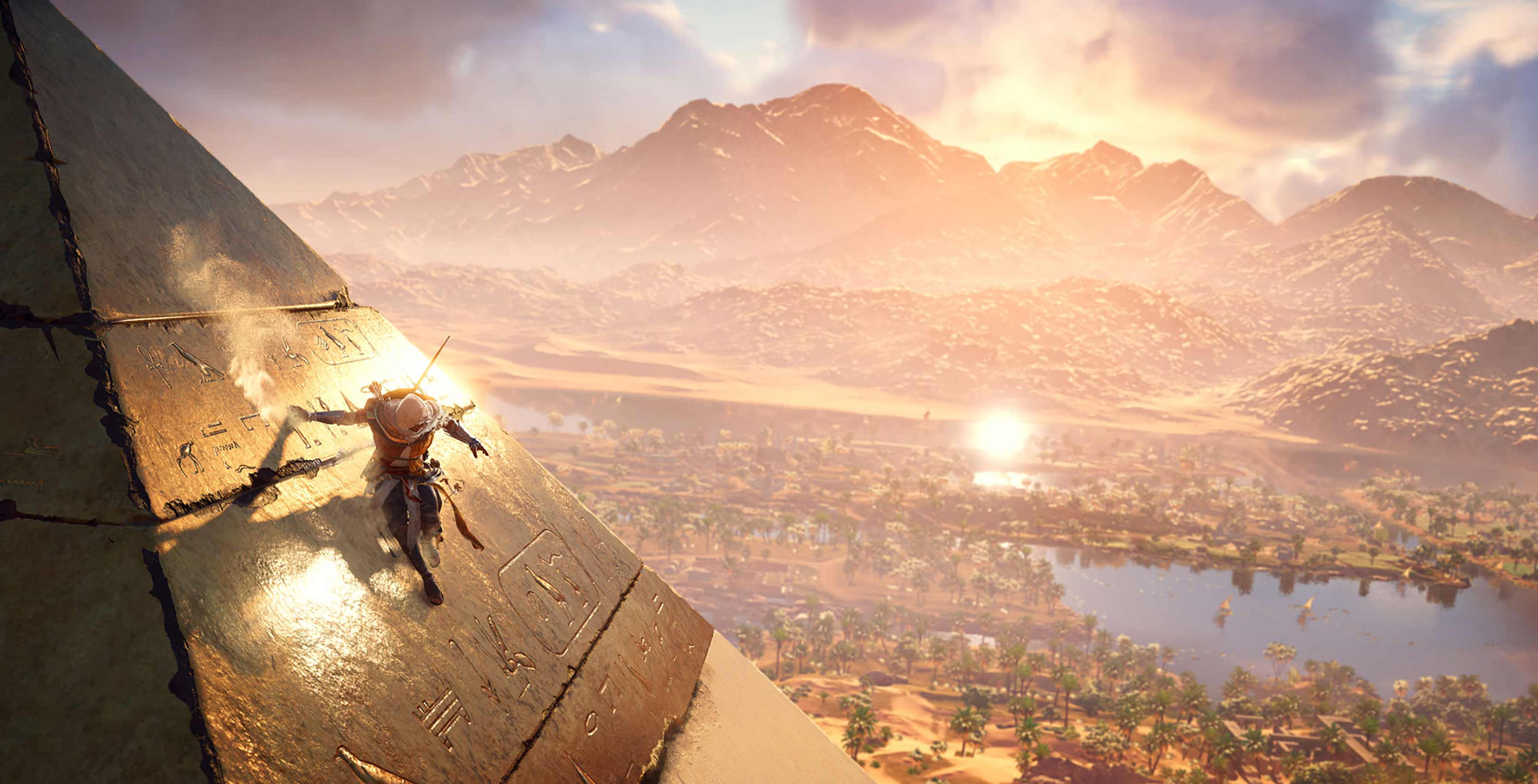 Assassin's Creed Origins Bayek on pyramid