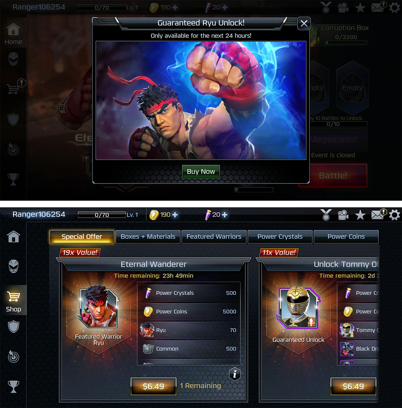 Screenshot of Legacy Wars shop
