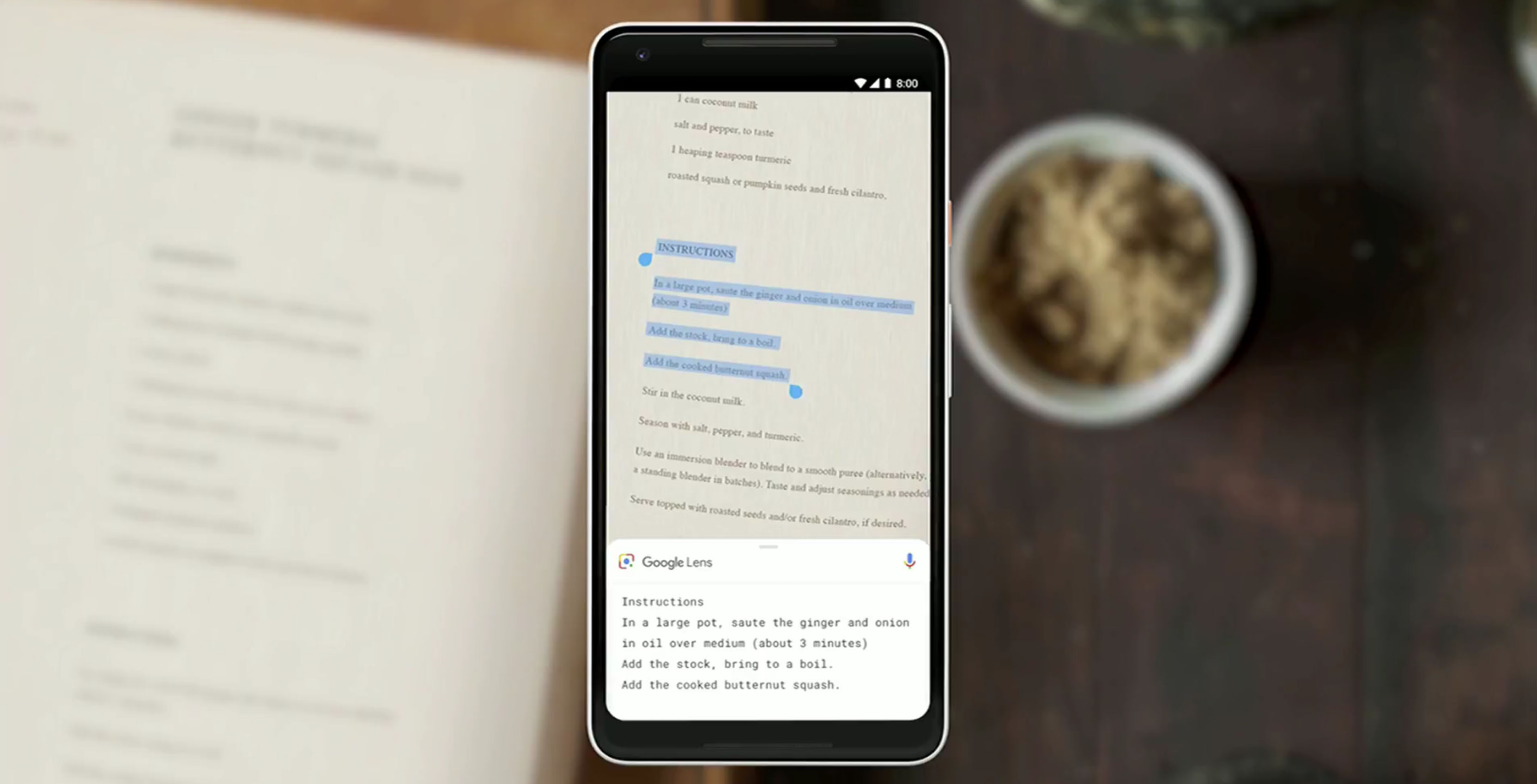 Google Lens capturing text from document