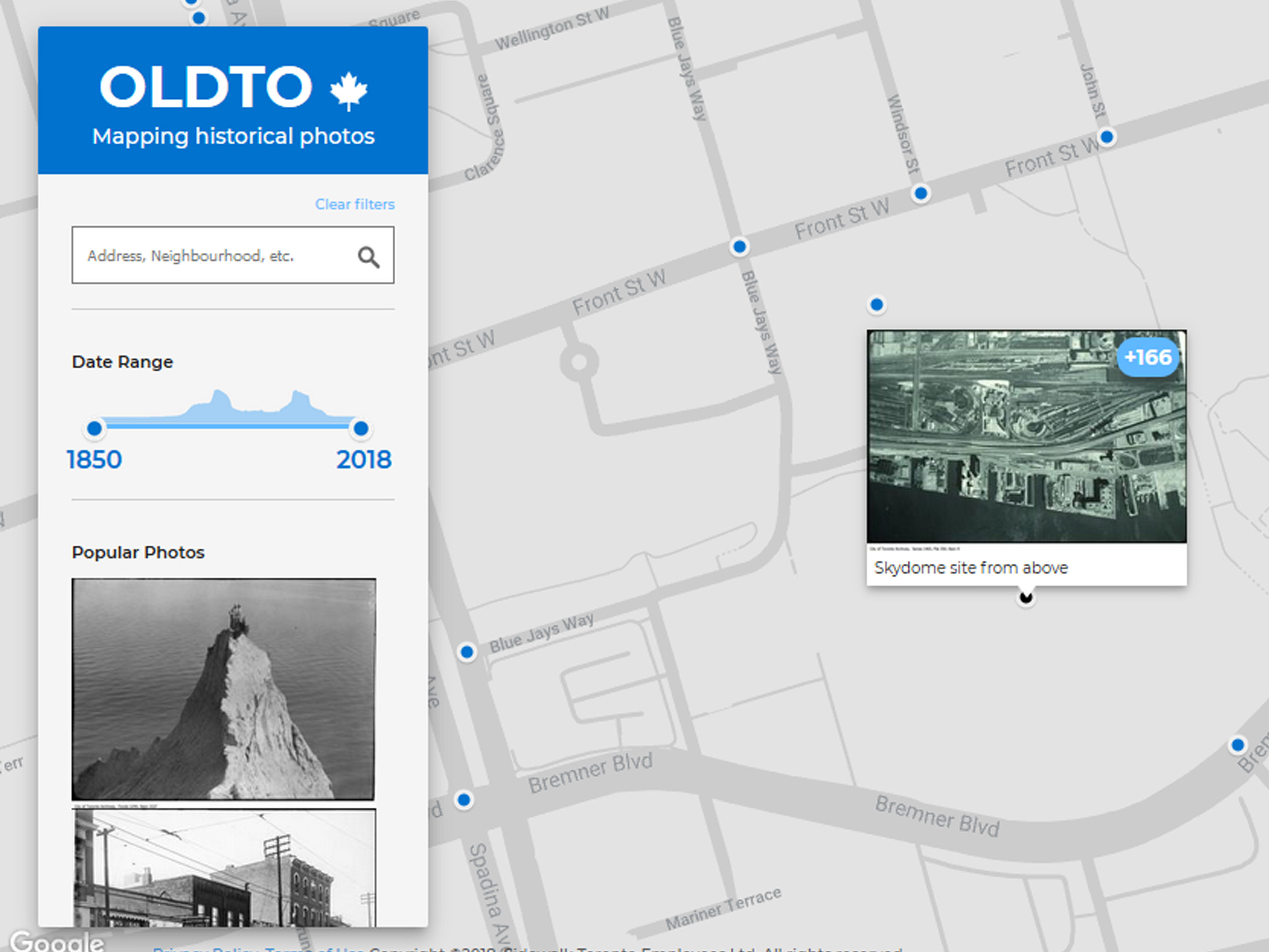 Screenshot of a historic photo location on Old Toronto