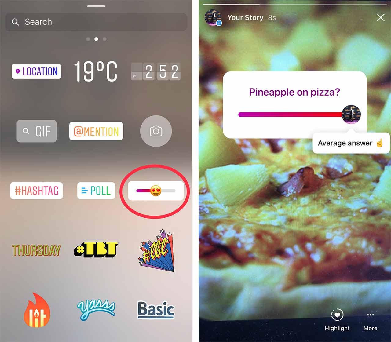 Instagram emoji slider