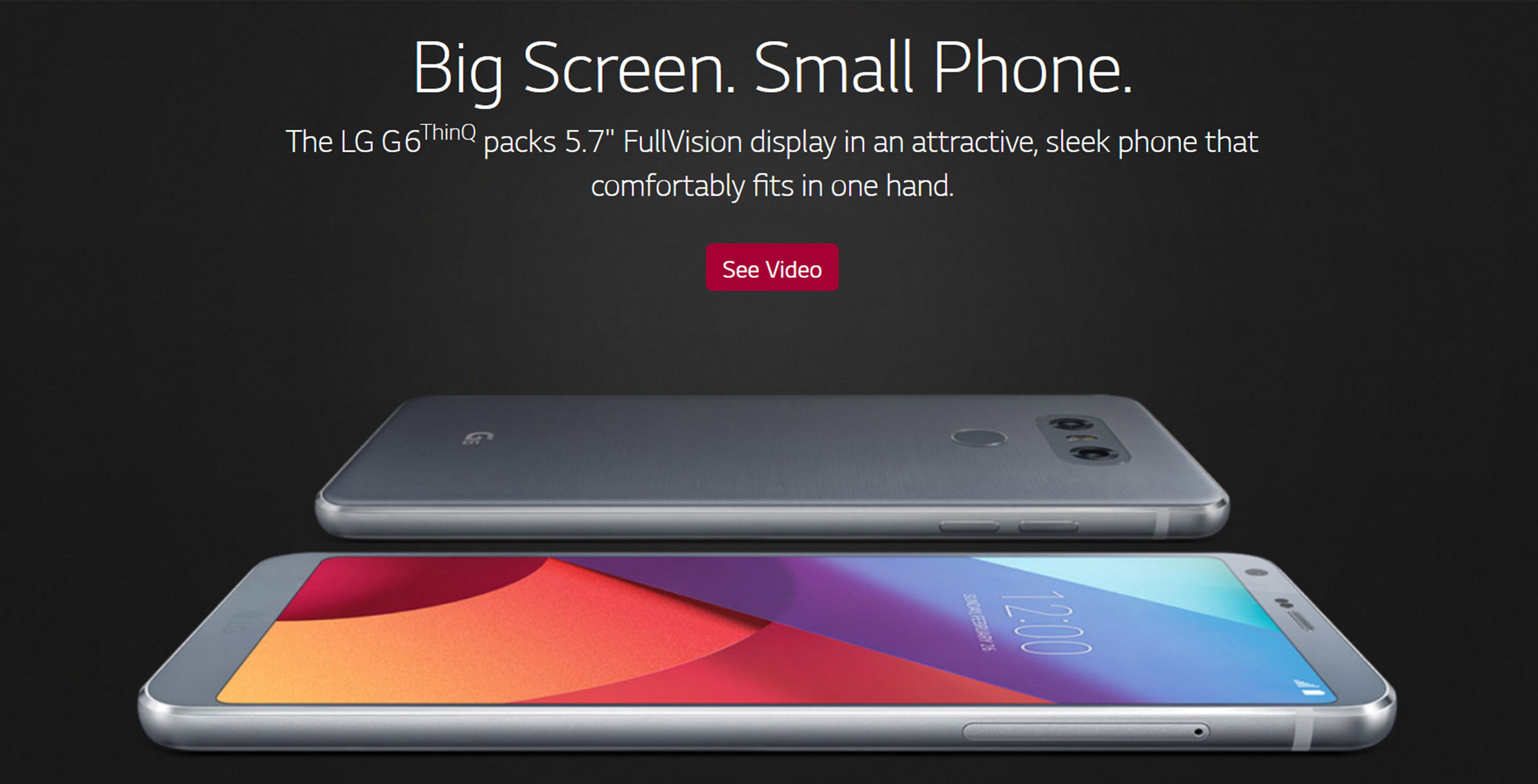LG website showing the LG G6 ThinQ