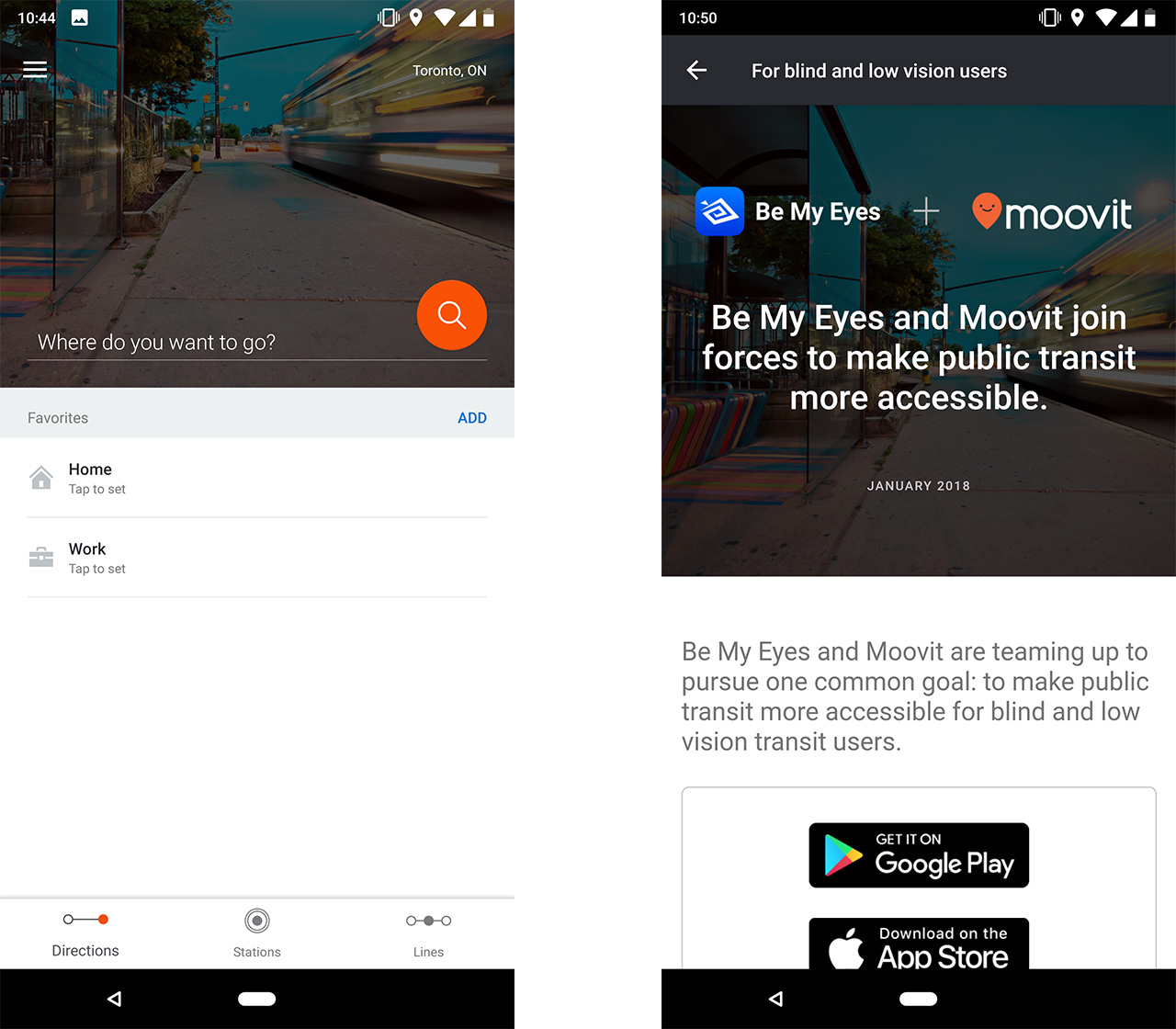 Moovit search and Be My Eyes partnership