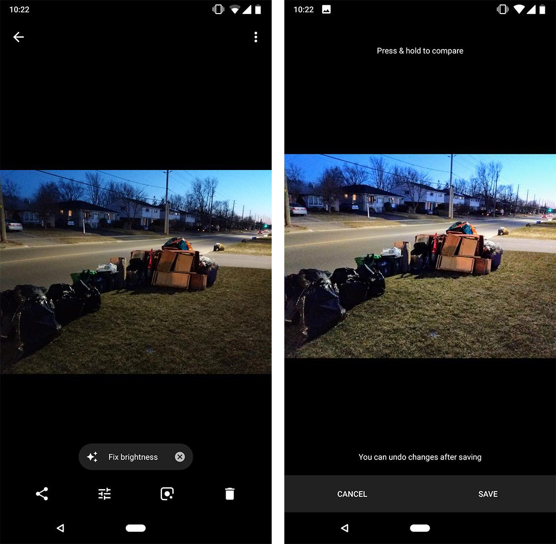 Google Photos fix brightness prompt