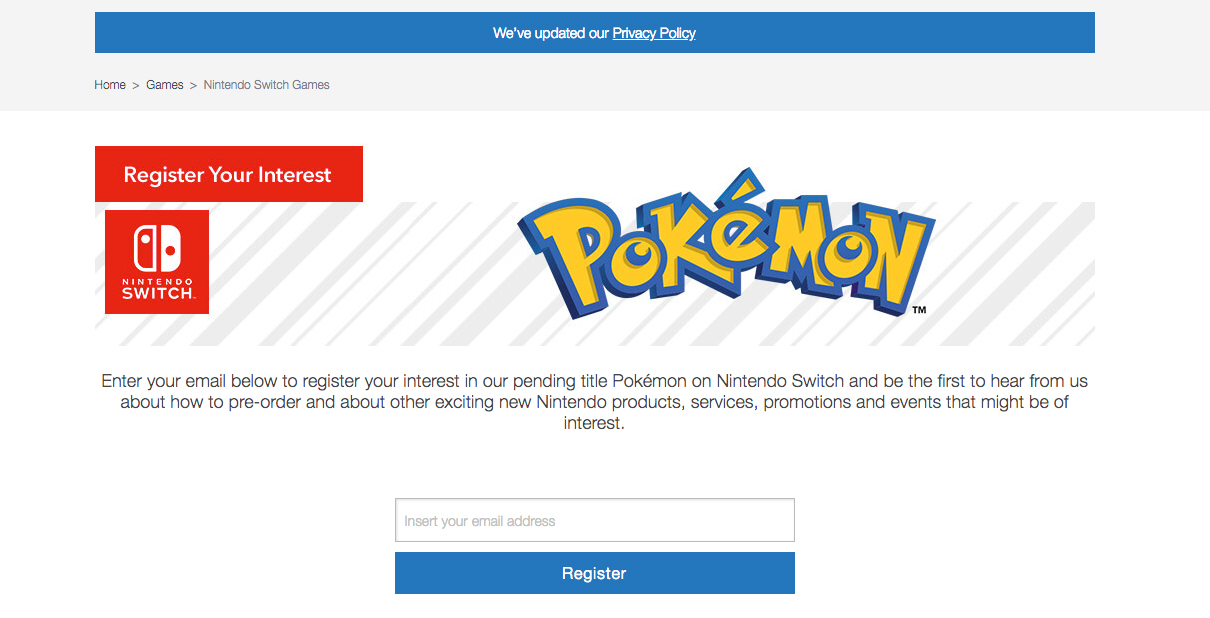 Nintendo UK now has dedicated Pokémon Switch email alerts