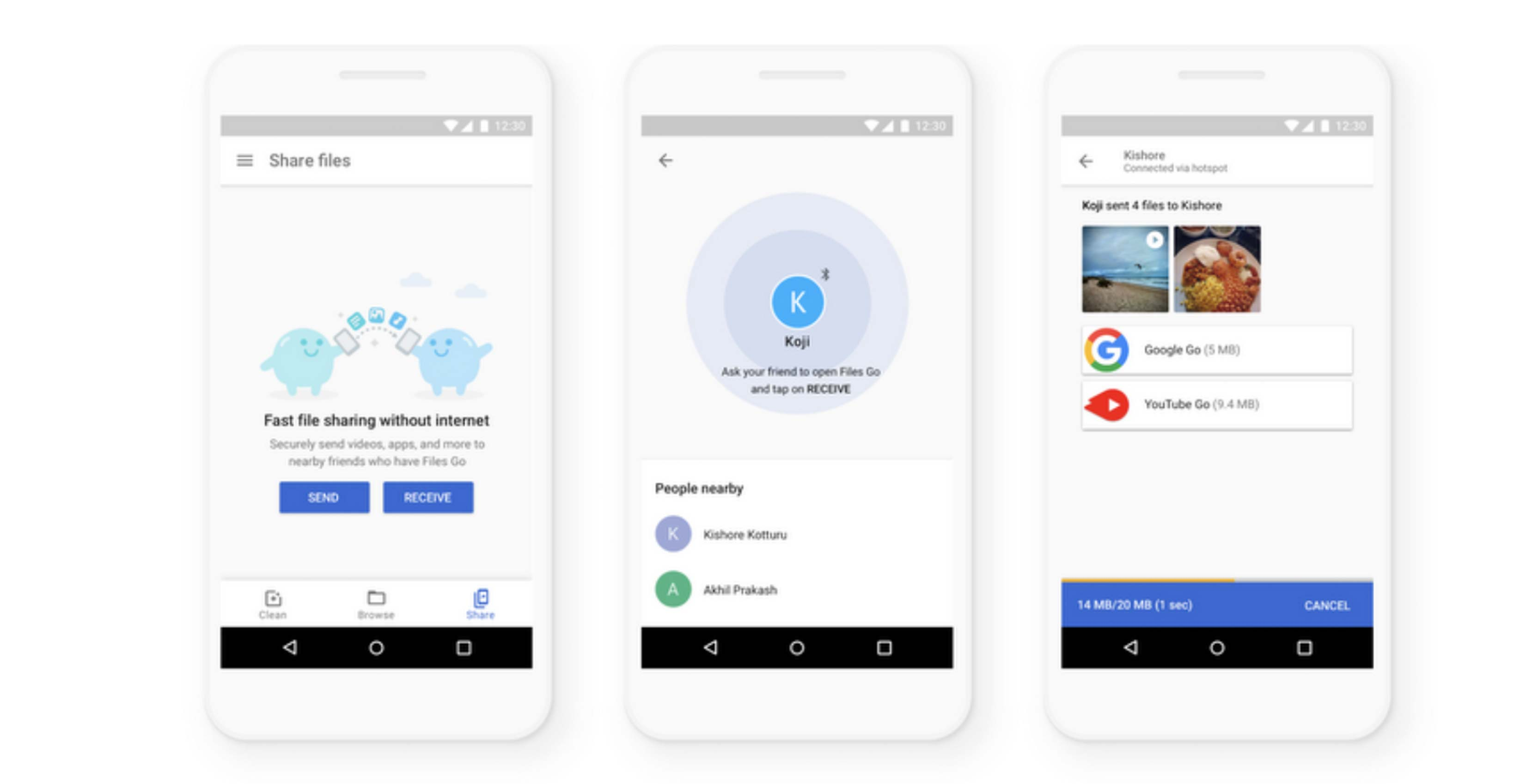 9ac634c1dab Google s Files Go app has been updated again and this time users can share  files to other nearby phones faster than before.