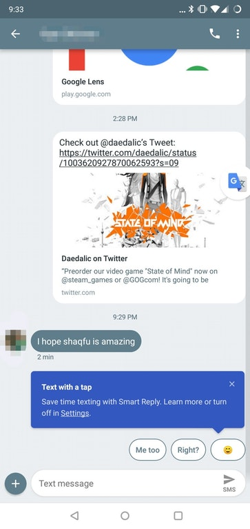Smart Replies in Android Messages