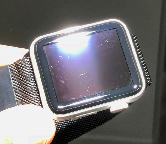 Dean Lubaki's scratched Apple Watch