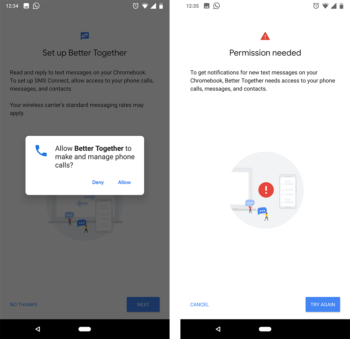 Hidden setup page points to upcoming Android Messaging