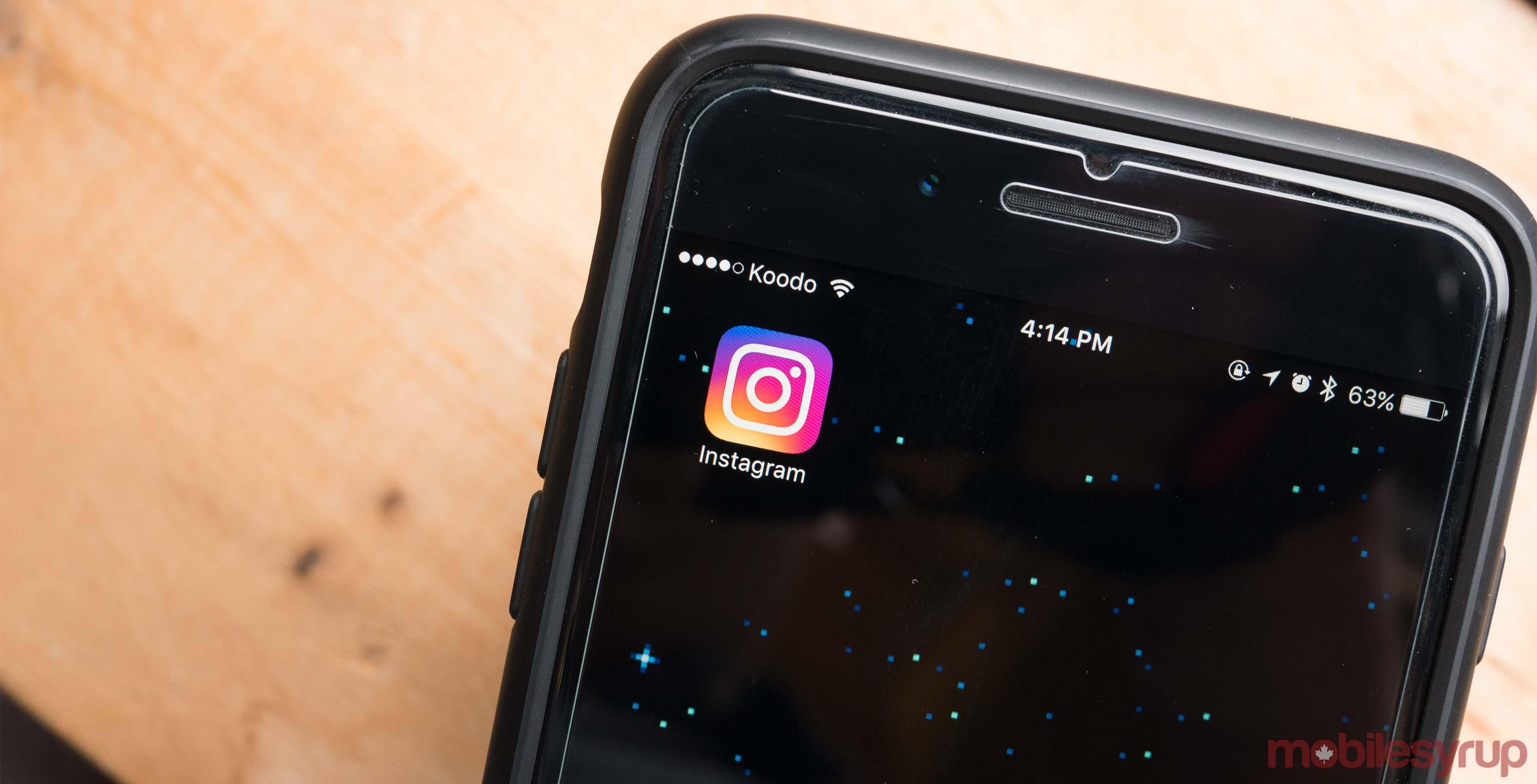 Instagram app on iOS