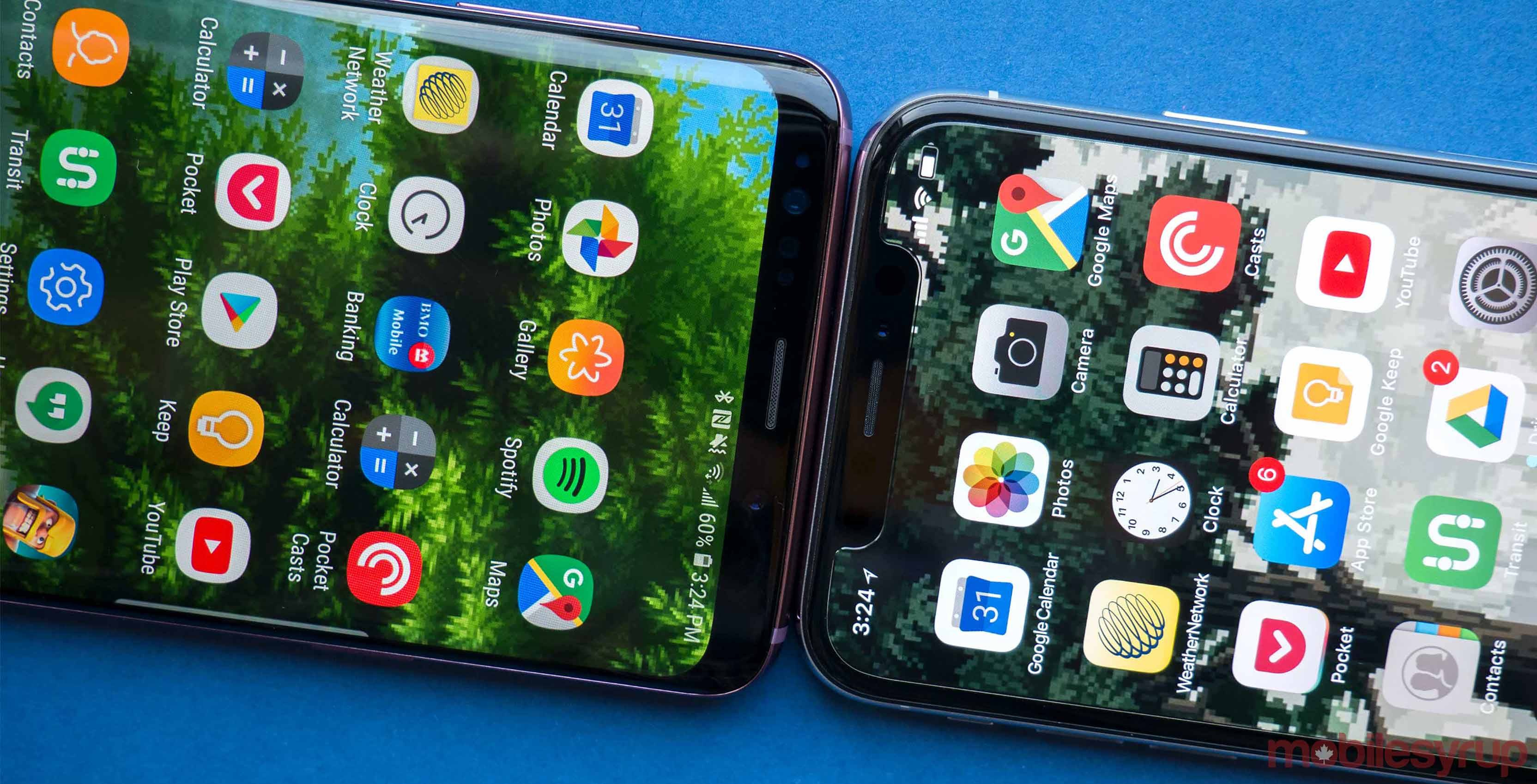Samsung Galaxy S8 and iPhone X