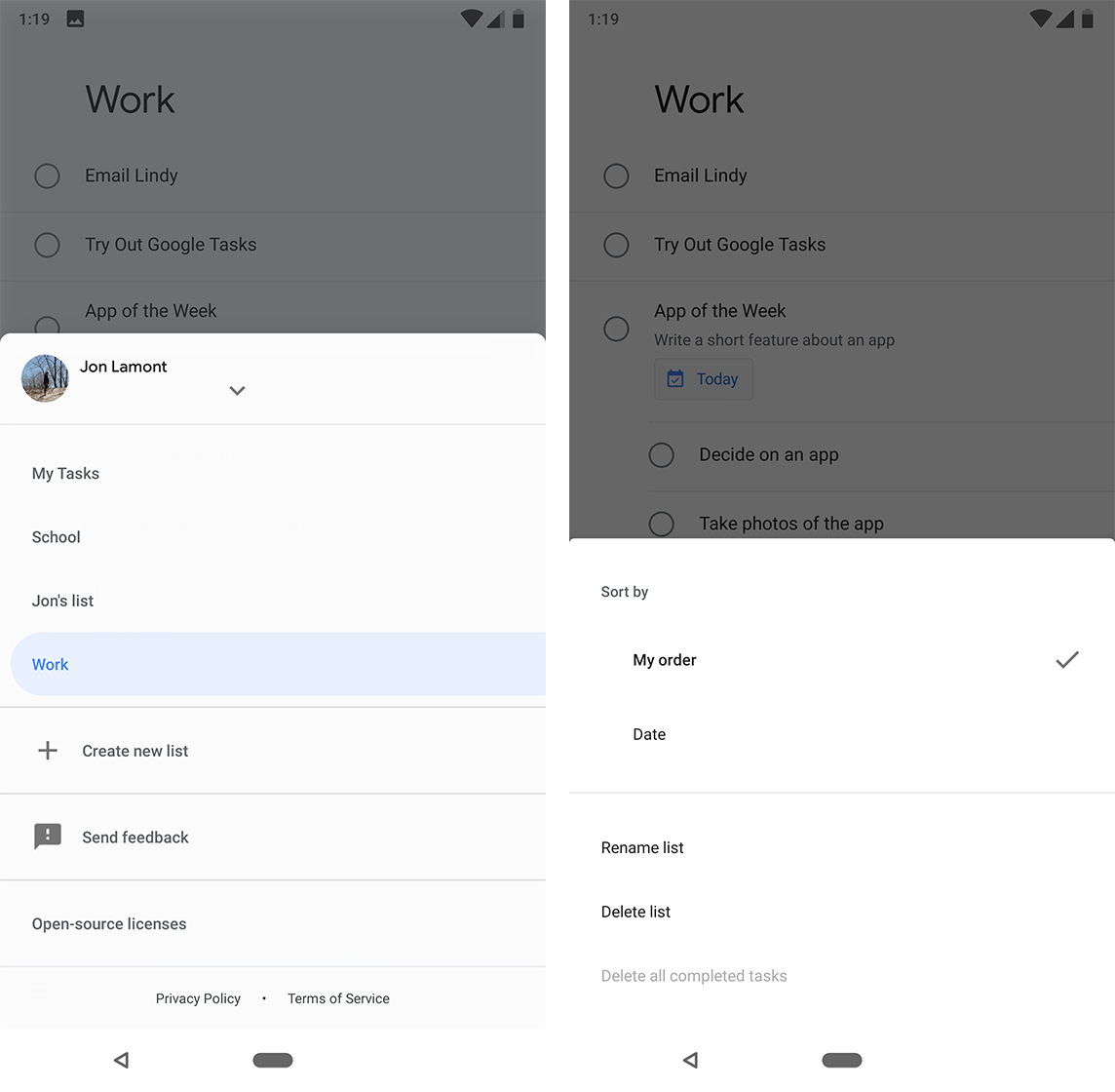Menu options in Google Tasks