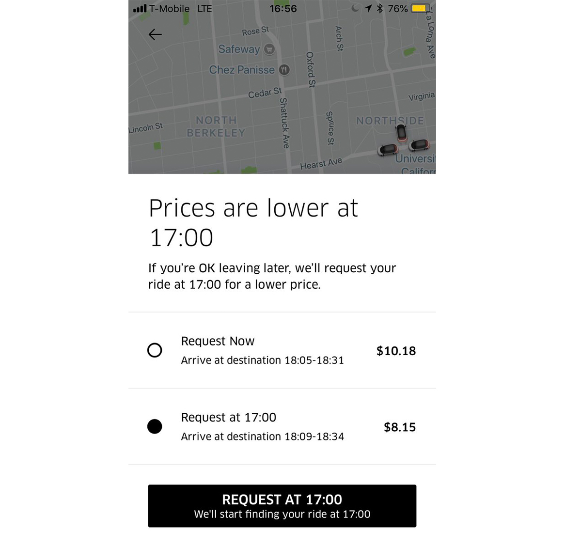 Uber's request a later ride feature
