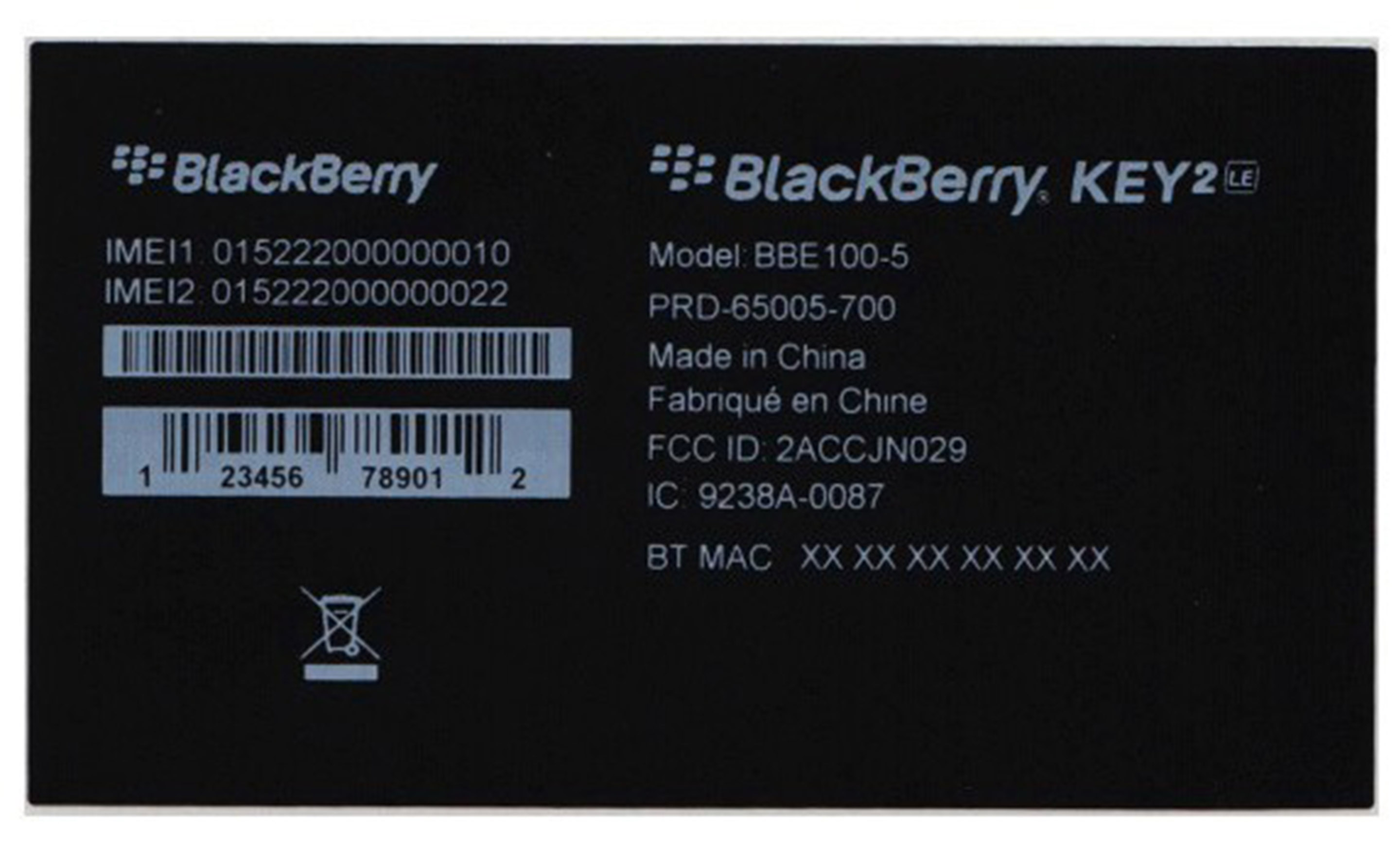 BlackBerry KEY2 LE tag