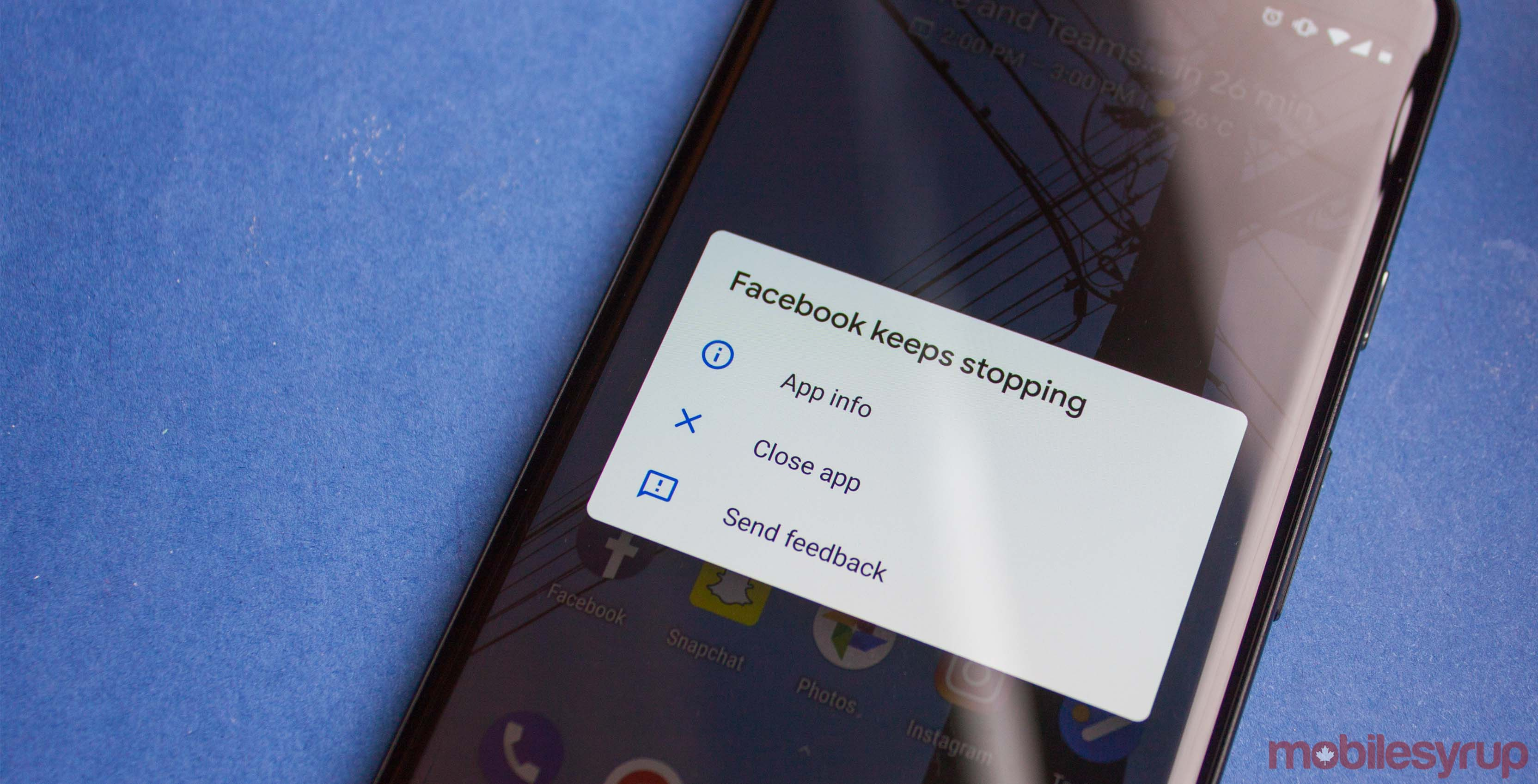 Facebook crash dialogue Android