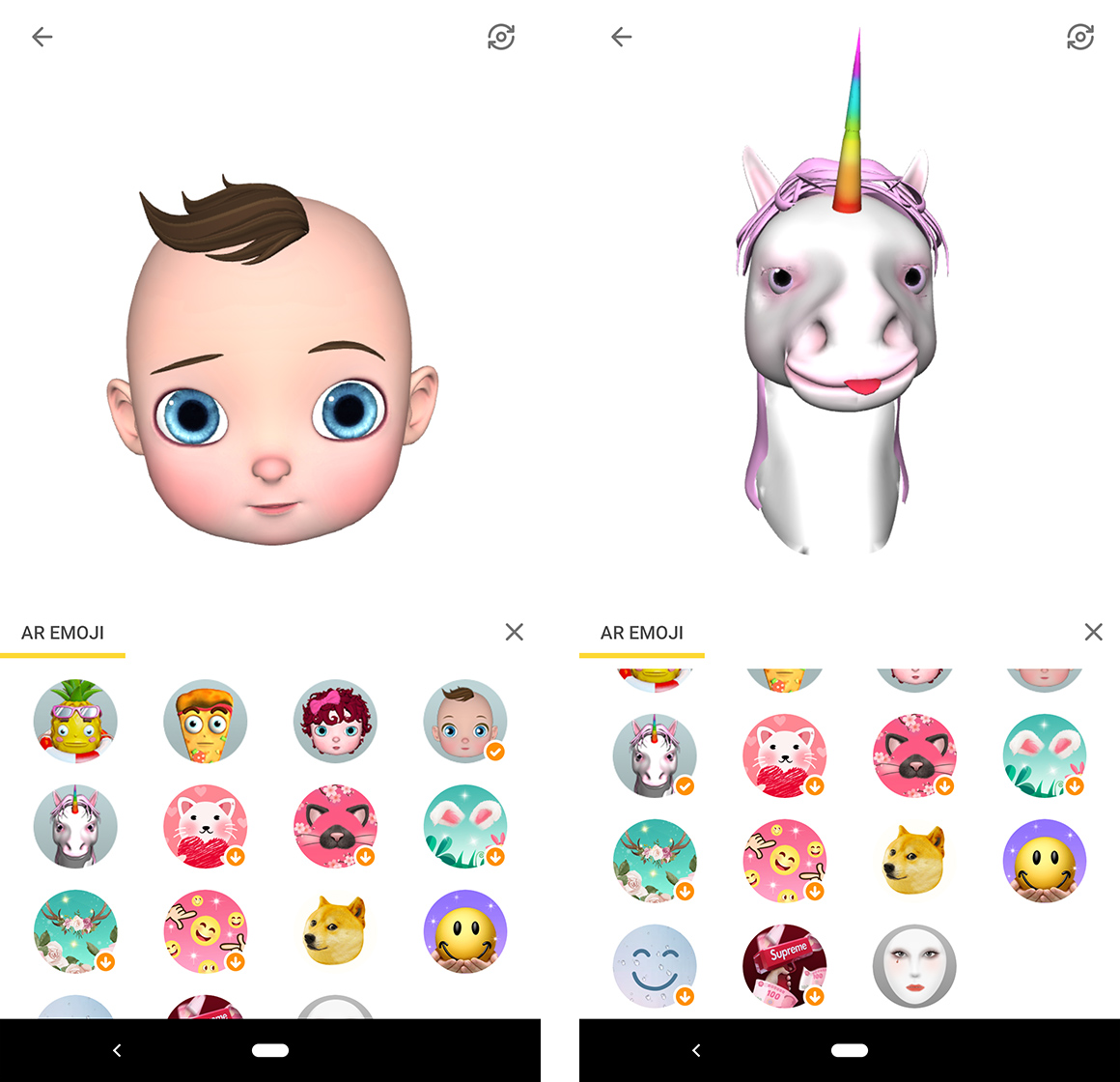 Baby and unicorn AR emoji from Facemoji